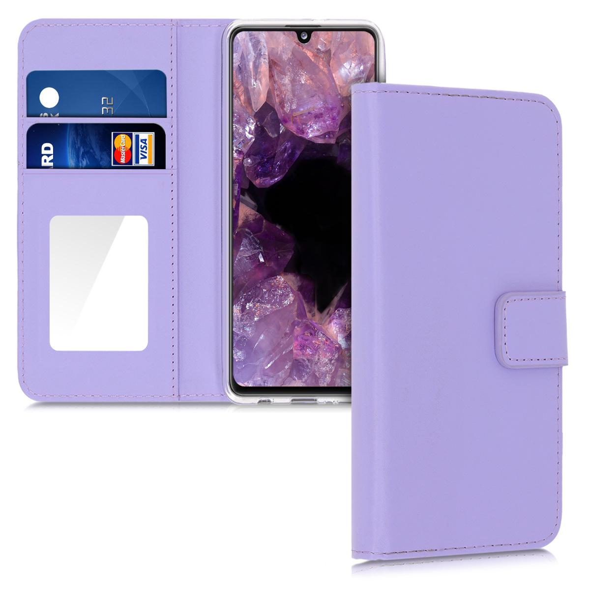 Kožené pouzdro pro Samsung A41 - světle  levandulové fialové
