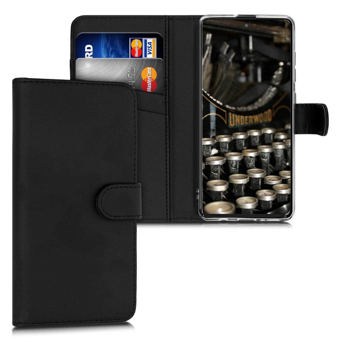 Černé kožené pouzdro / obal jako peněženka pro Samsung Galaxy A51