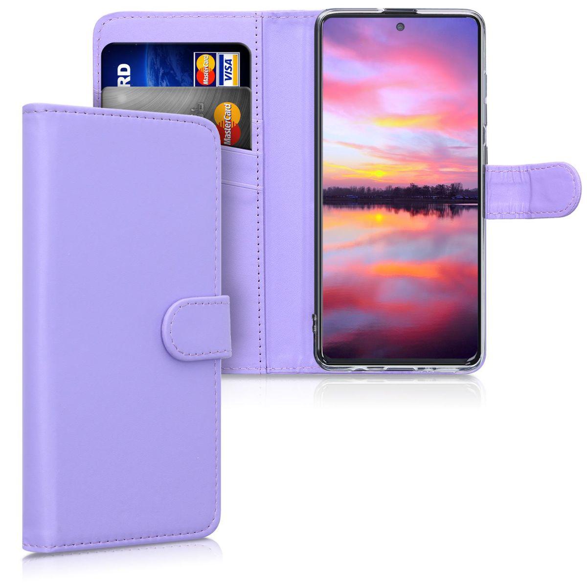 Světle levandulové kožené pouzdro / obal jako peněženka pro Samsung Galaxy A51