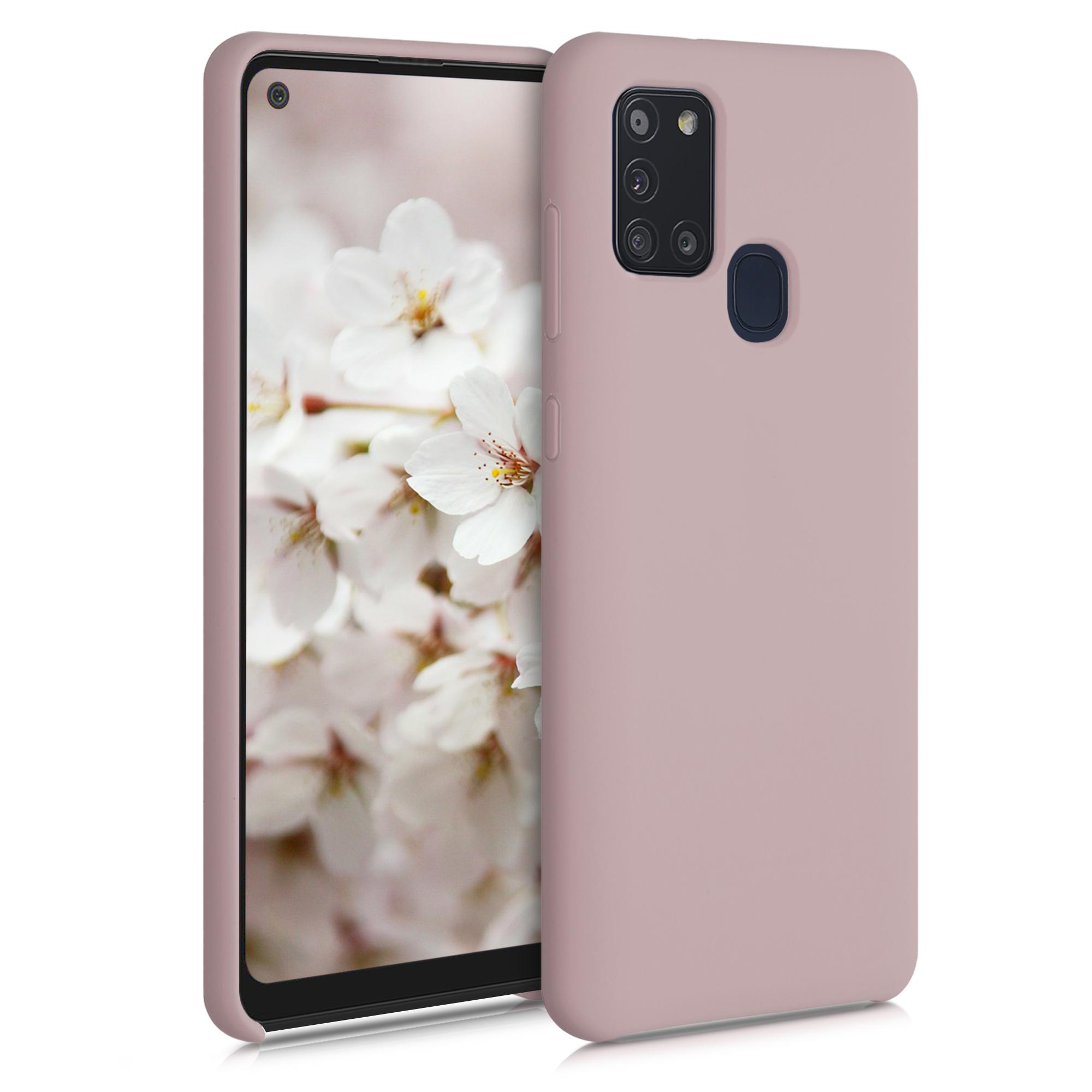 Kvalitní silikonové TPU pouzdro pro Samsung A21s - Light Pink Matte