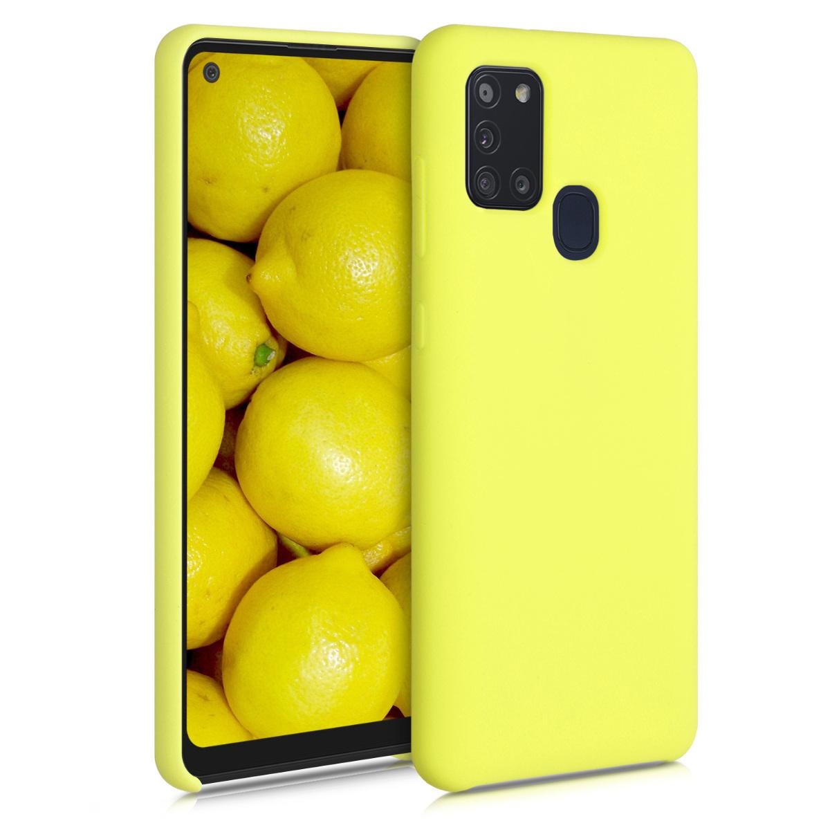 Kvalitní silikonové TPU pouzdro pro Samsung A21s - žluté matné