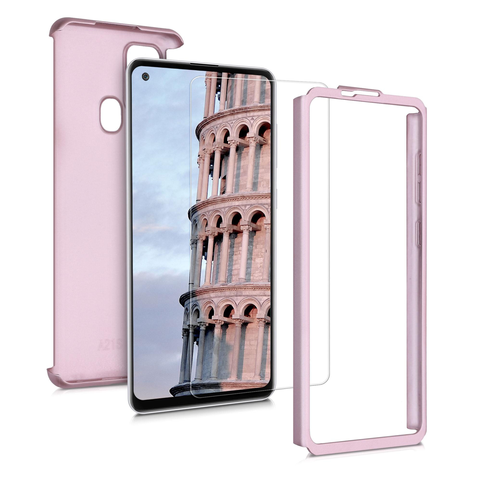 Kvalitní plastové pouzdro pro Samsung A21s - Metallic Rose Gold