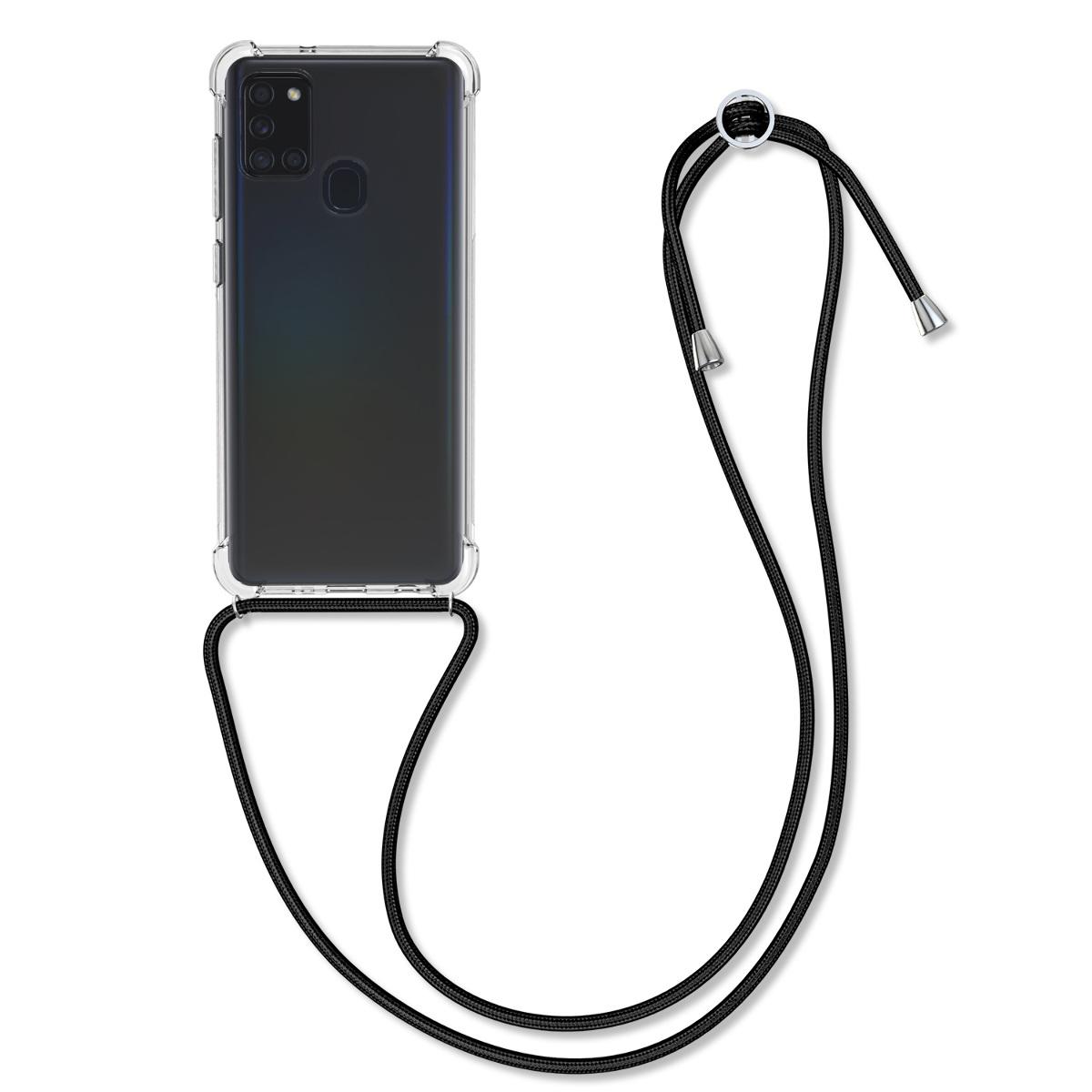 Kvalitní silikonové TPU pouzdro pro Samsung A21s - černé / transparentní