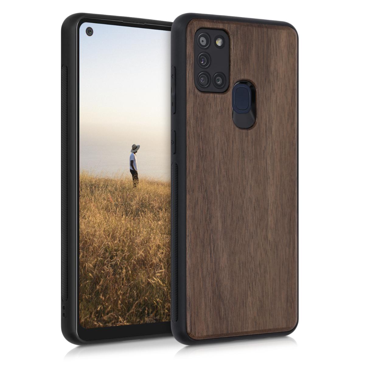Dřevěné pouzdro pro Samsung A21s - tmavě hnědá