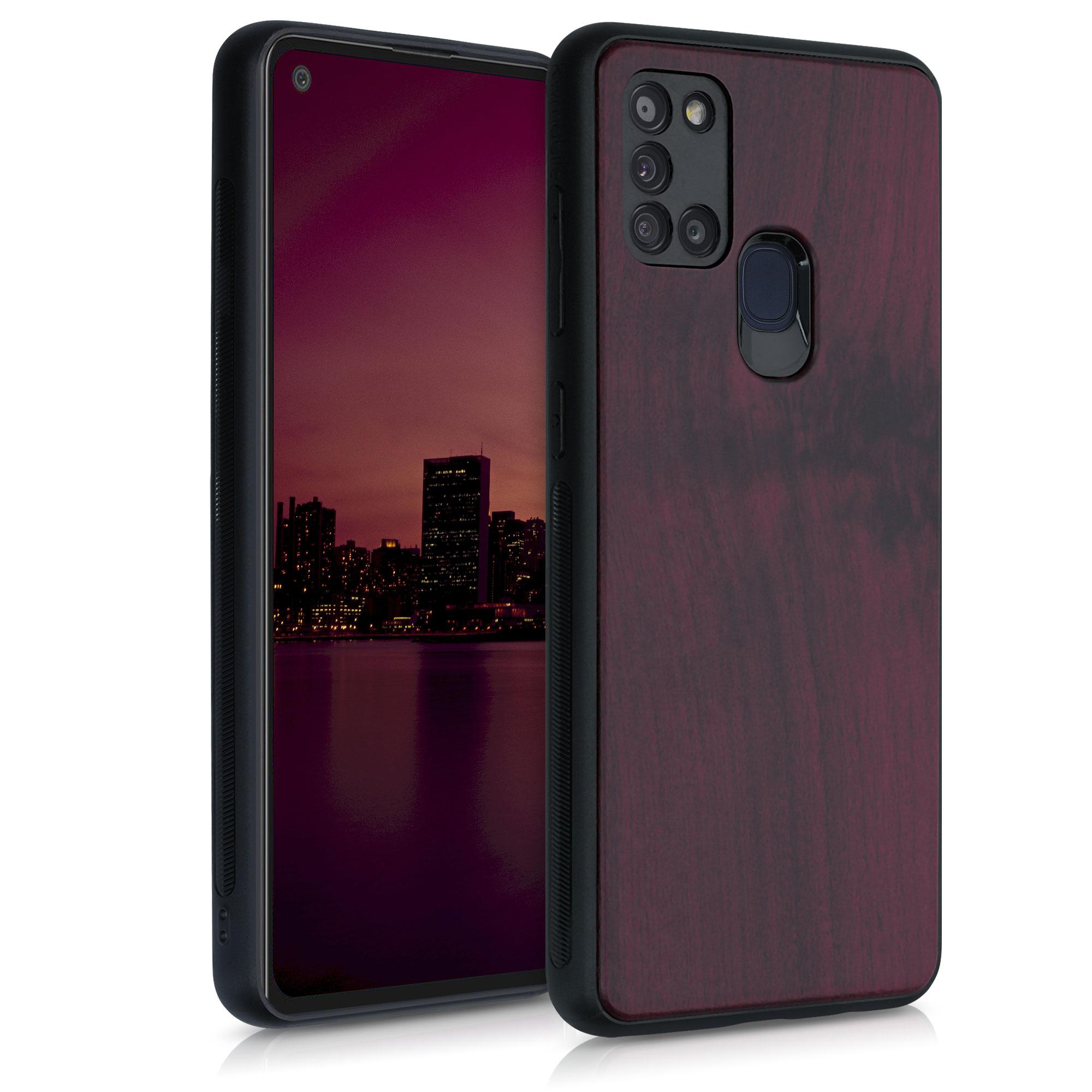 Dřevěné pouzdro pro Samsung A21s - tmavě červená