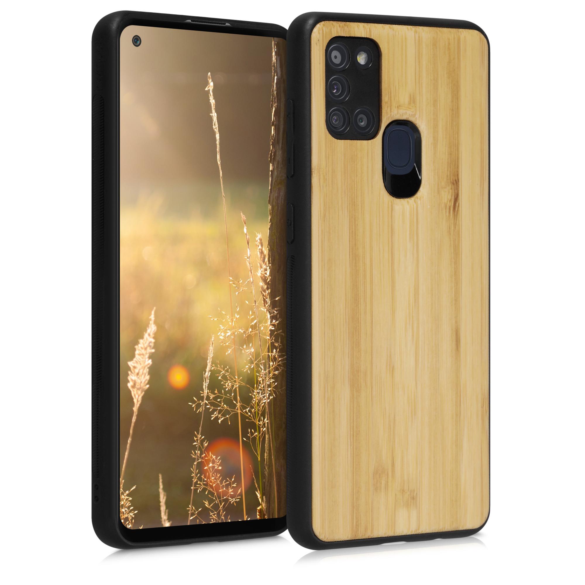 Světlé dřevěné pouzdro | obal pro Samsung Galaxy A21s
