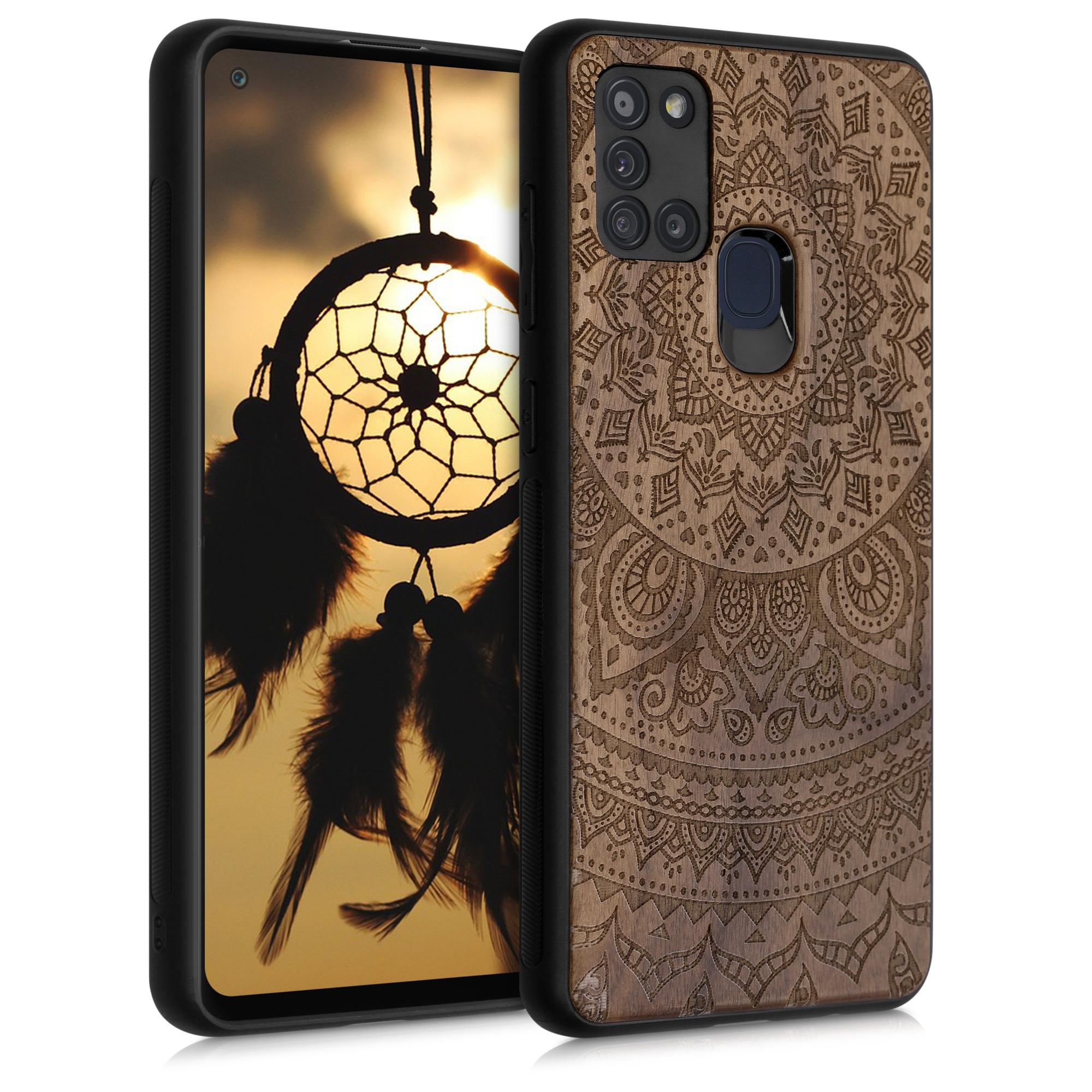 Dřevěné pouzdro pro Samsung A21s - Indické Sun Dark Brown