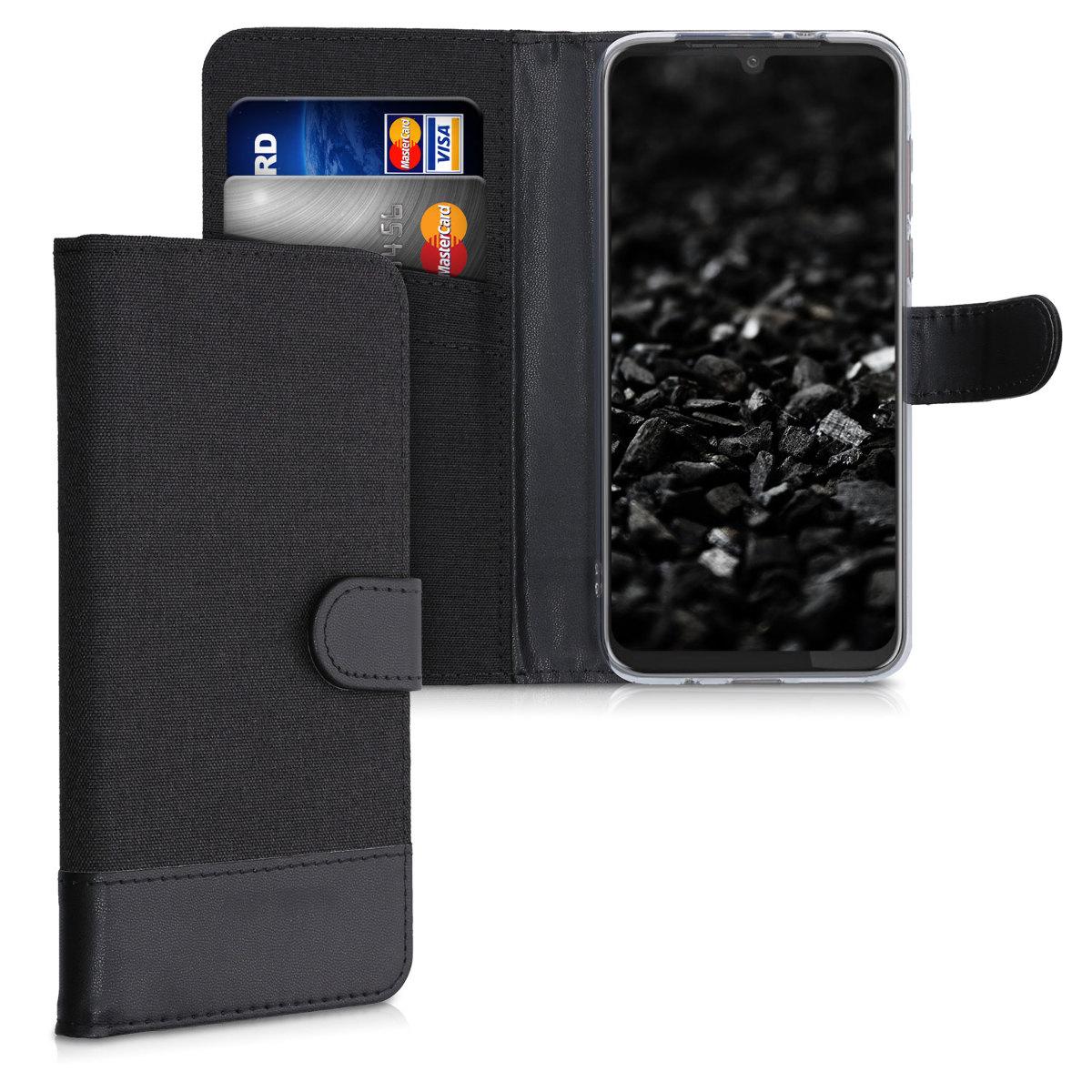 Textilní látkové pouzdro | obal pro Motorola Moto G8 Plus - Antracitová / černá