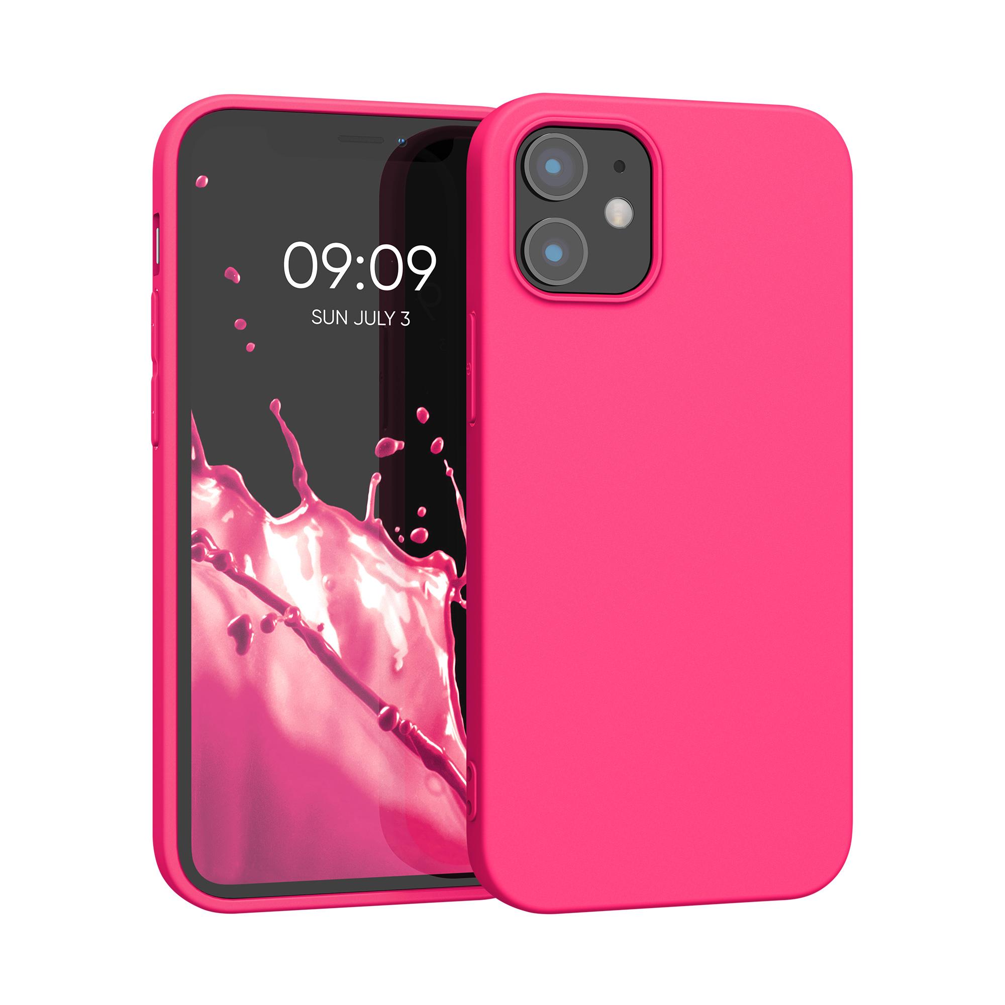 Kvalitní silikonové TPU pouzdro pro Apple iPhone 12 mini - Neon Pink