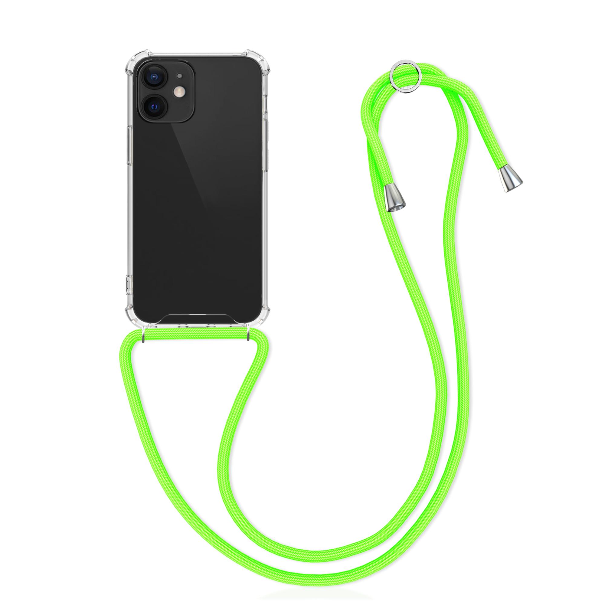 Kvalitní silikonové TPU pouzdro pro Apple iPhone 12 mini - Transparent | Neon Green