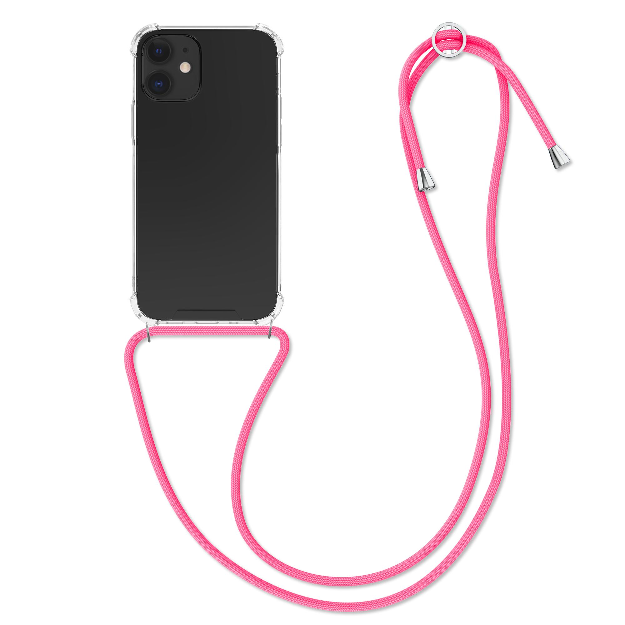 Kvalitní silikonové TPU pouzdro pro Apple iPhone 12 mini - Transparent | Neon Pink