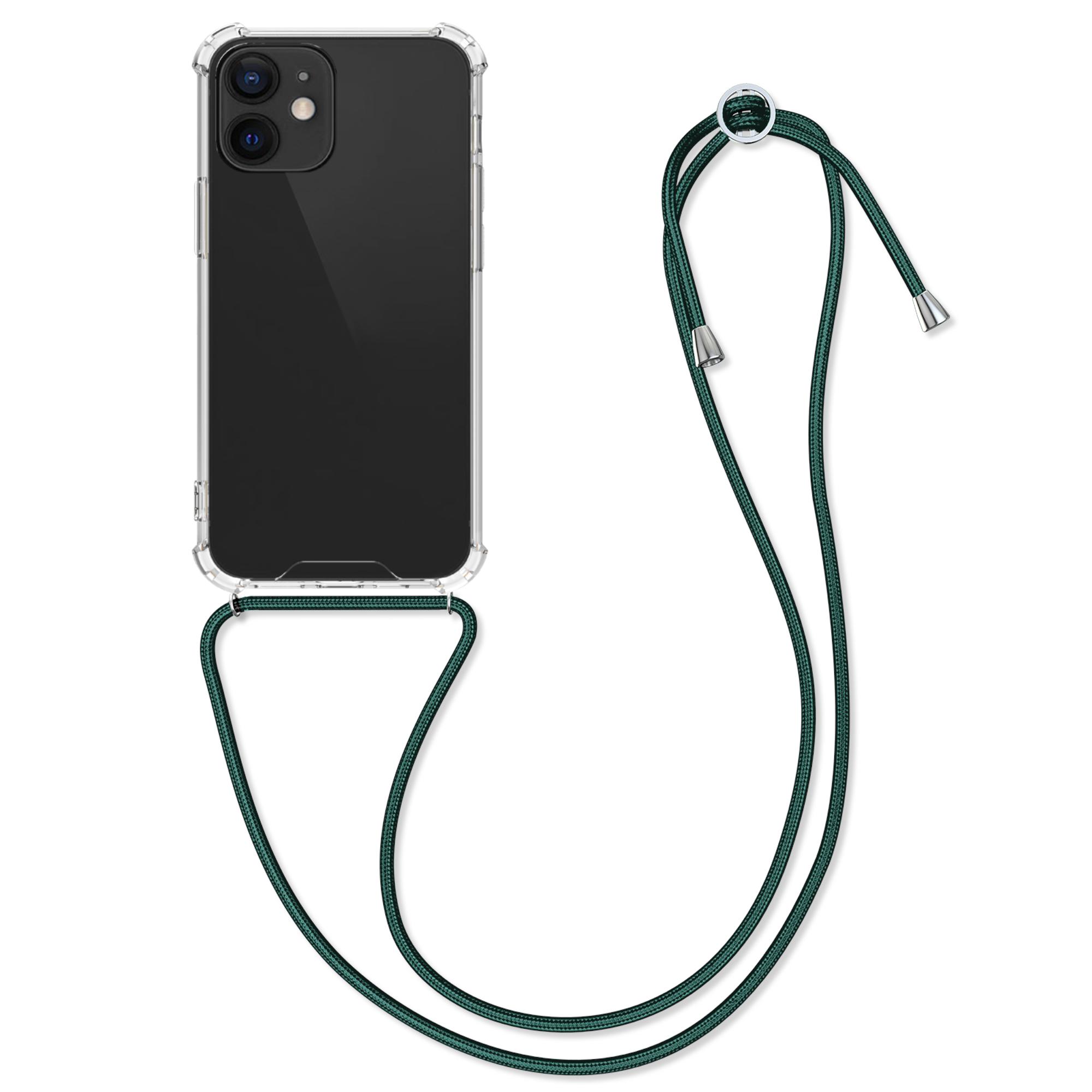 Kvalitní silikonové TPU pouzdro pro Apple iPhone 12 mini - Transparent | Dark Green