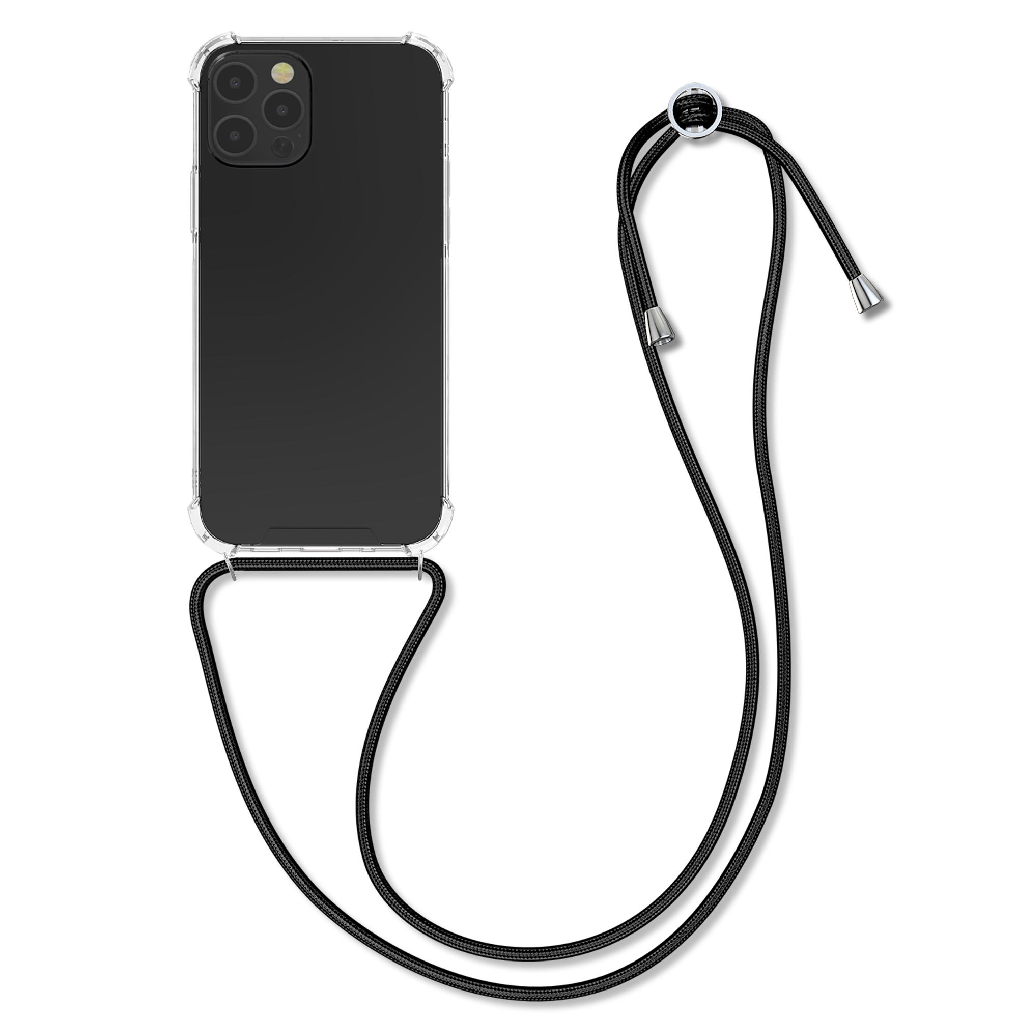 Kvalitní silikonové TPU pouzdro pro Apple iPhone 12 / 12 Pro - Transparent | Black