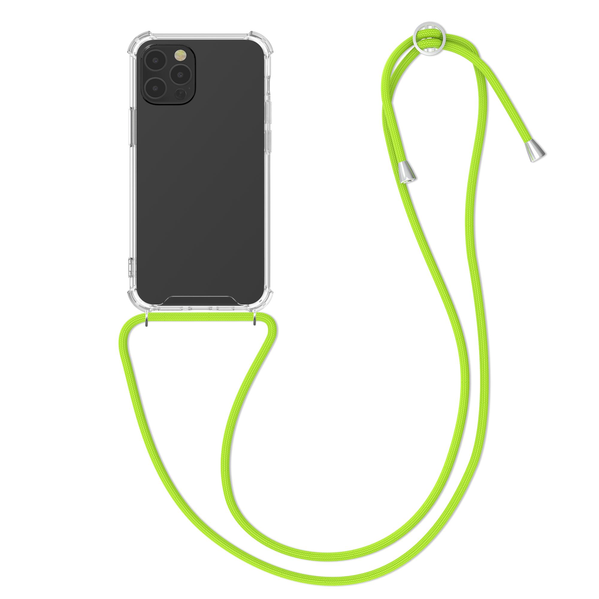 Kvalitní silikonové TPU pouzdro pro Apple iPhone 12 / 12 Pro - Transparent | Neon Green