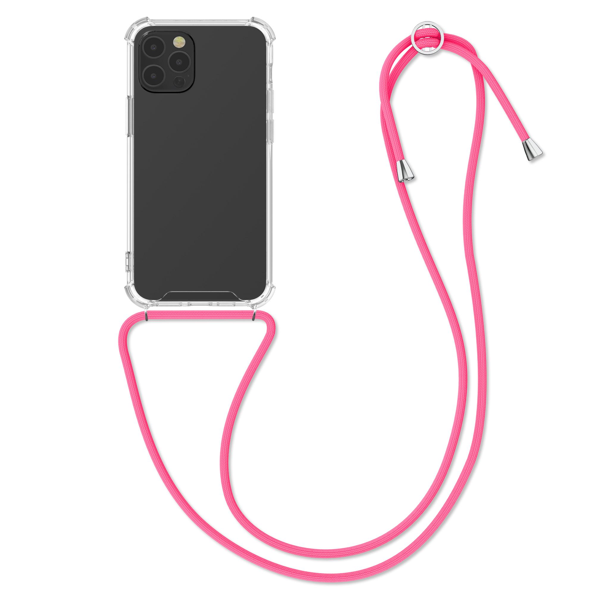 Kvalitní silikonové TPU pouzdro pro Apple iPhone 12 / 12 Pro - Transparent | Neon Pink