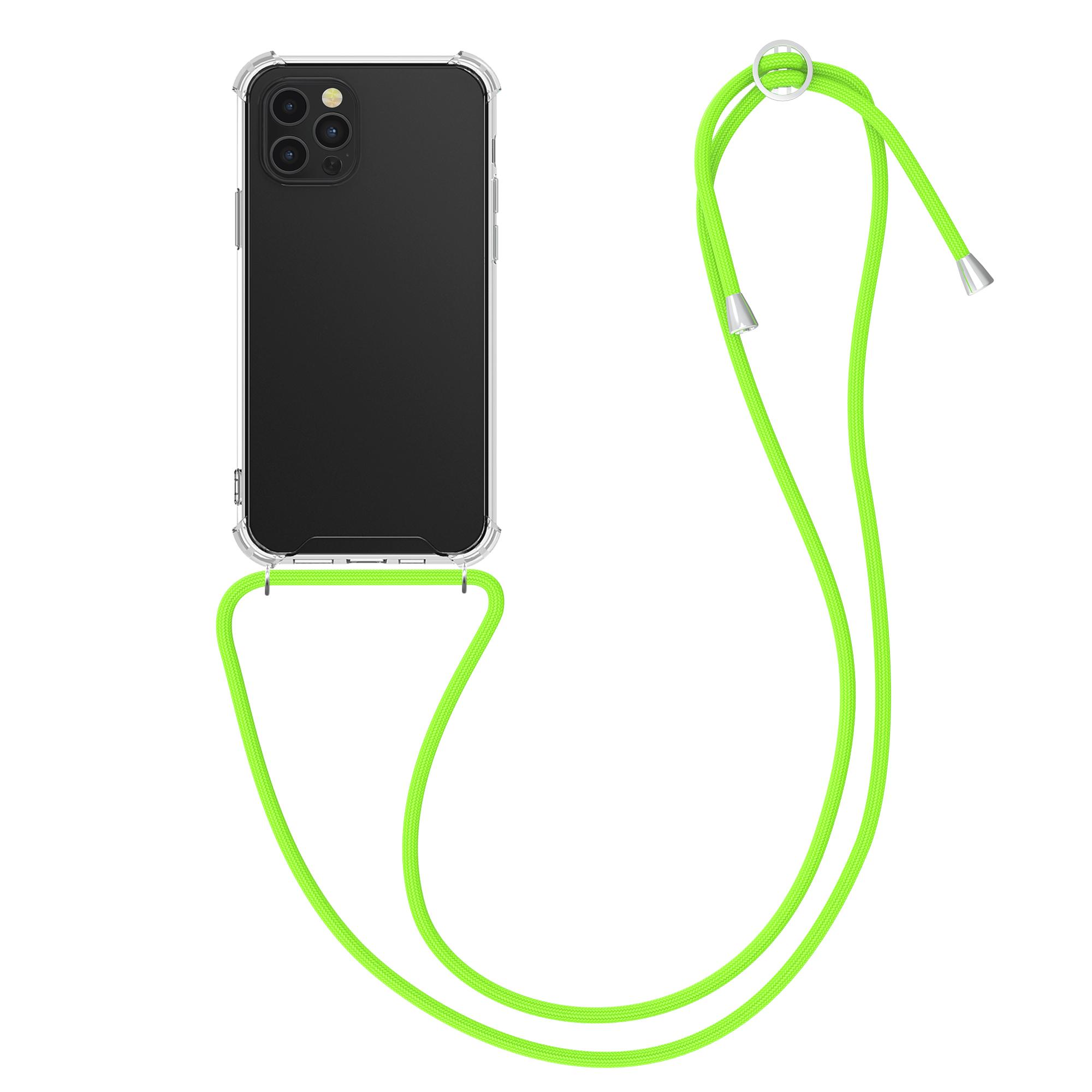 Kvalitní silikonové TPU pouzdro pro Apple iPhone 12 Pro Max - Transparent | Neon Green