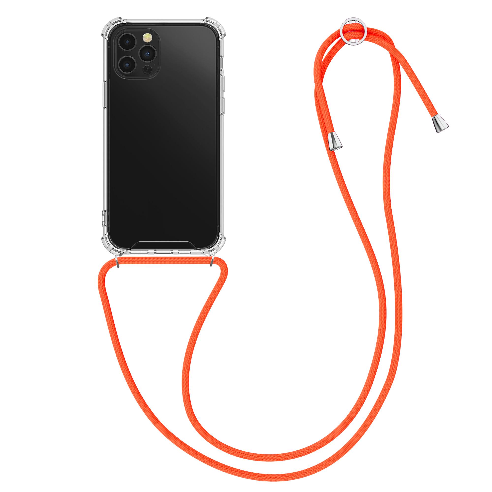 Kvalitní silikonové TPU pouzdro pro Apple iPhone 12 Pro Max - Transparent | Neon Orange