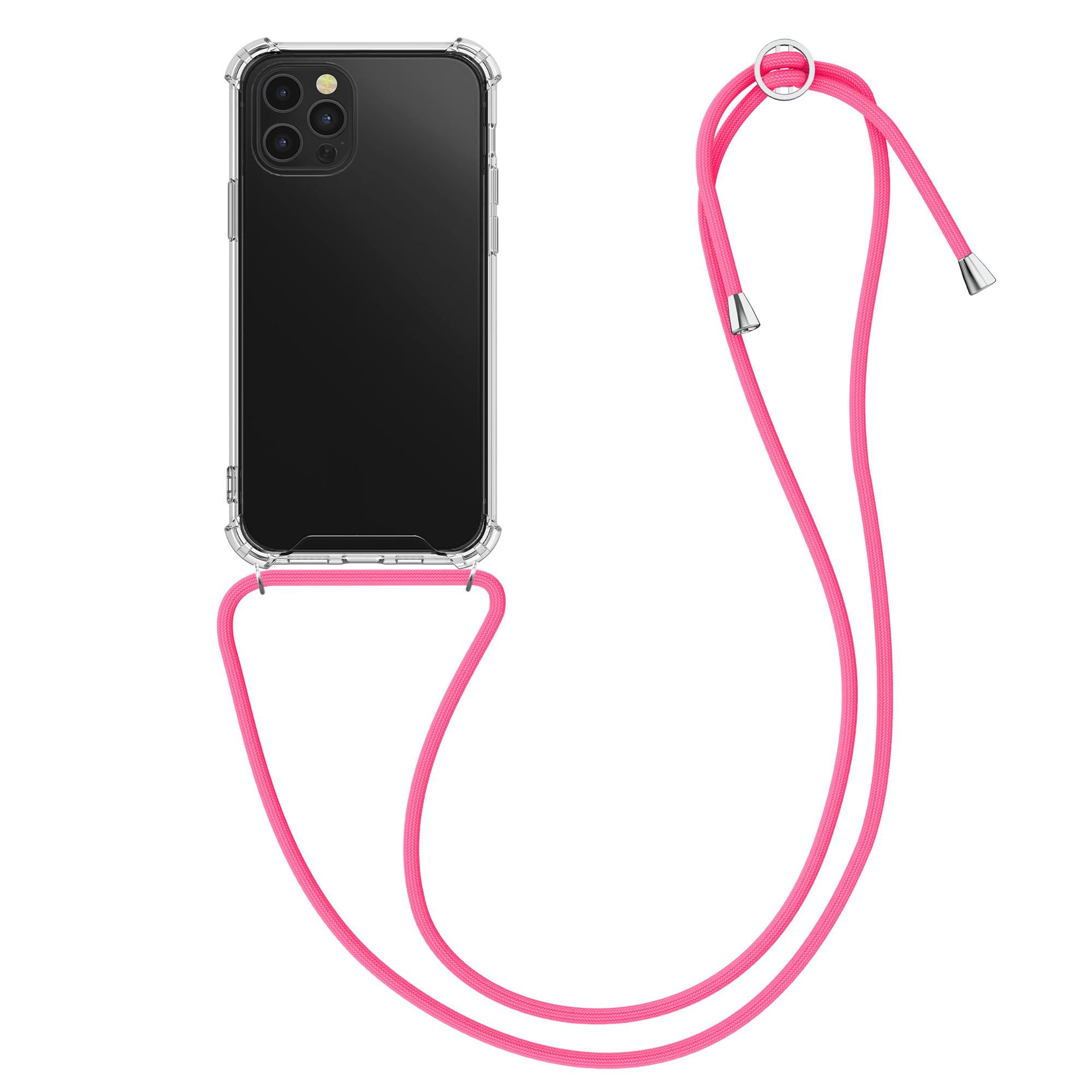 Kvalitní silikonové TPU pouzdro pro Apple iPhone 12 Pro Max - Transparent | Neon Pink