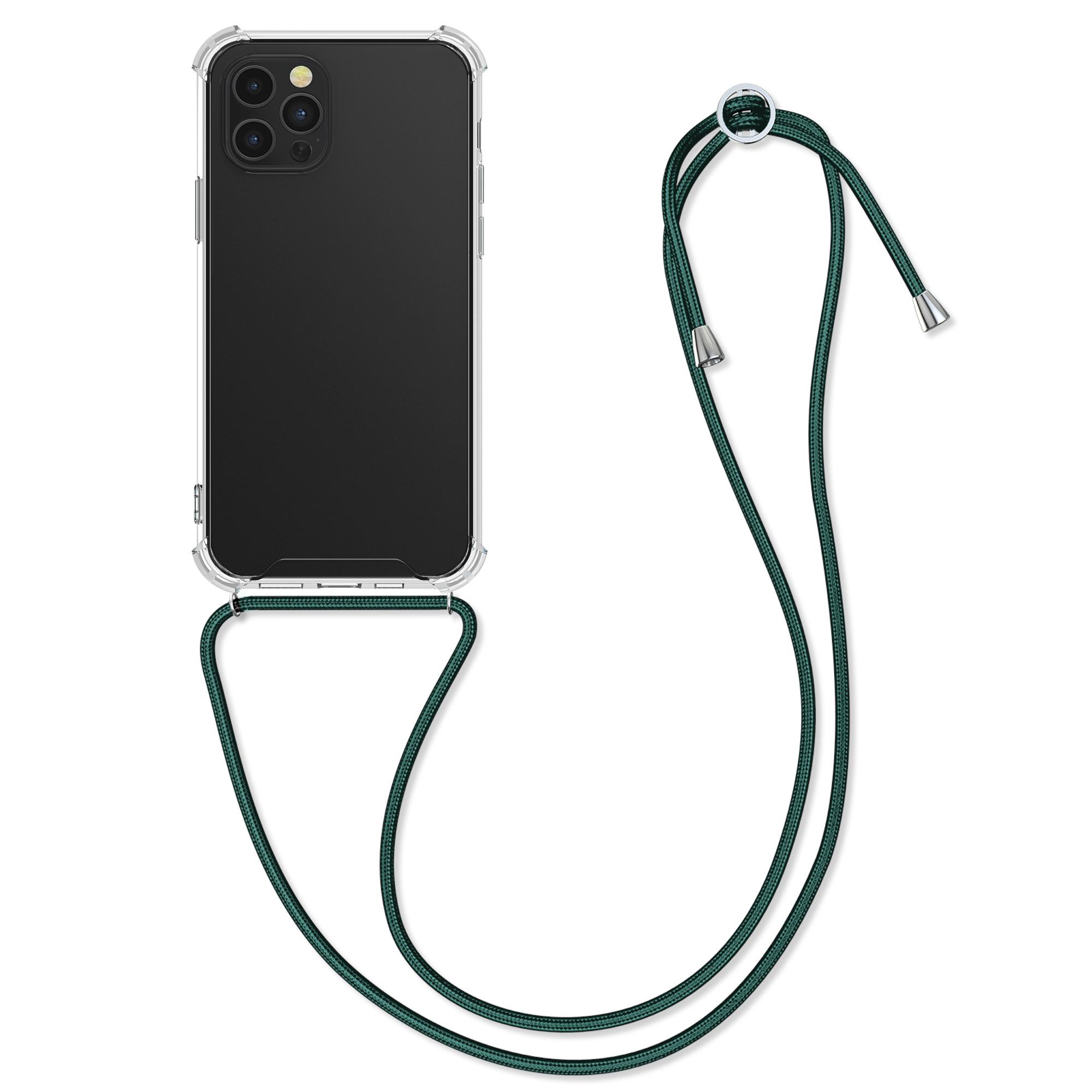 Kvalitní silikonové TPU pouzdro pro Apple iPhone 12 Pro Max - Transparent | Dark Green