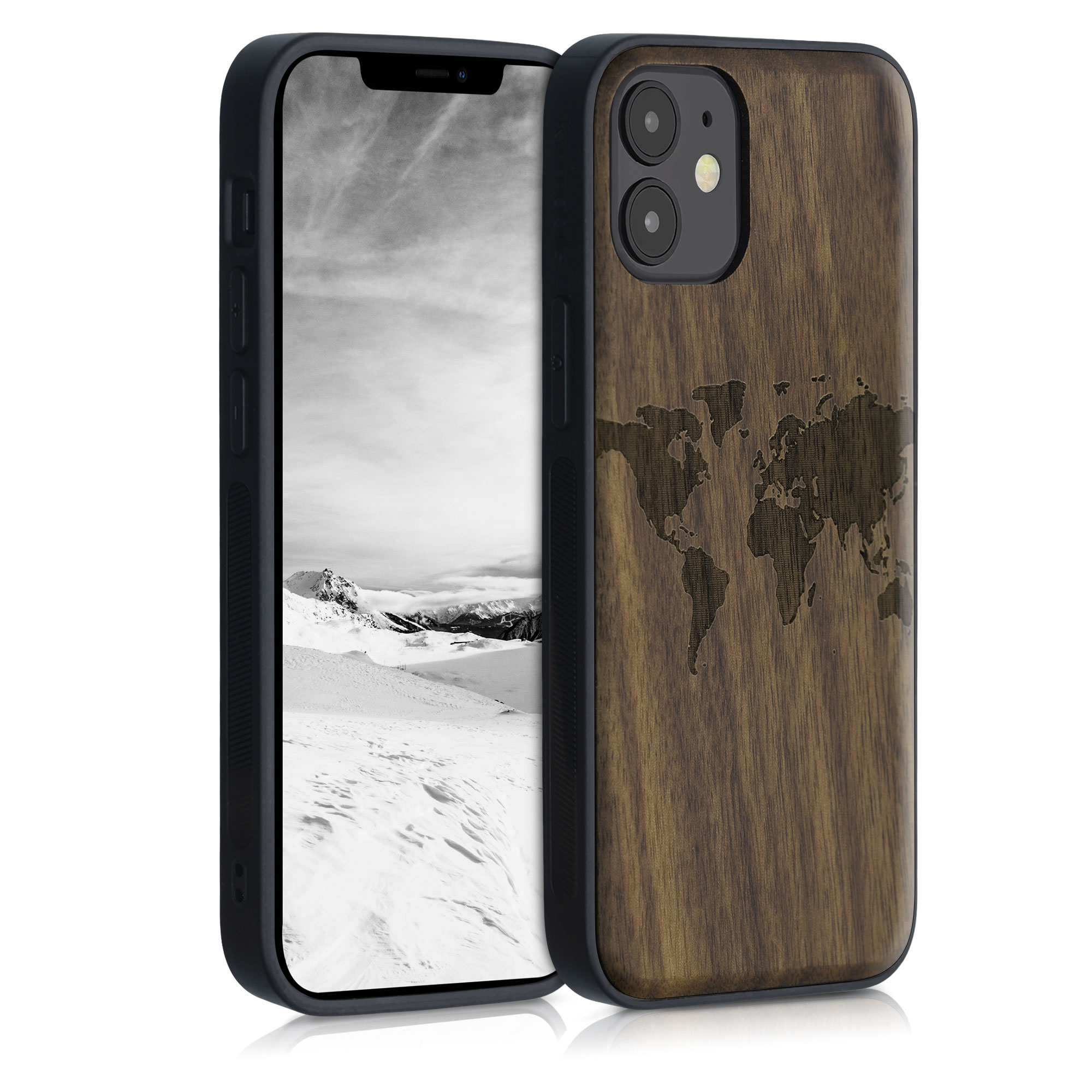 Dřevěné pouzdro pro Apple iPhone 12 mini - Travel Outline Dark Brown