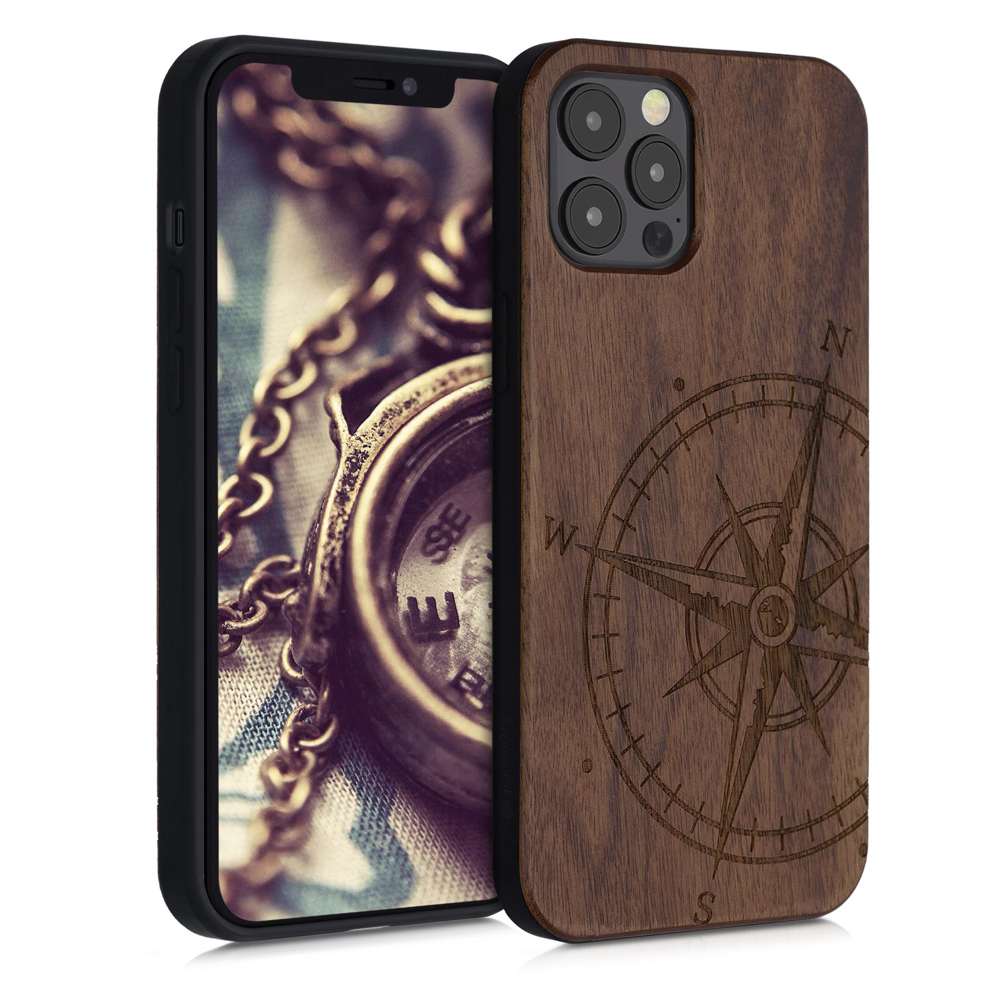 Dřevěné pouzdro pro Apple iPhone 12 Pro Max - Navigační Compass Dark Brown