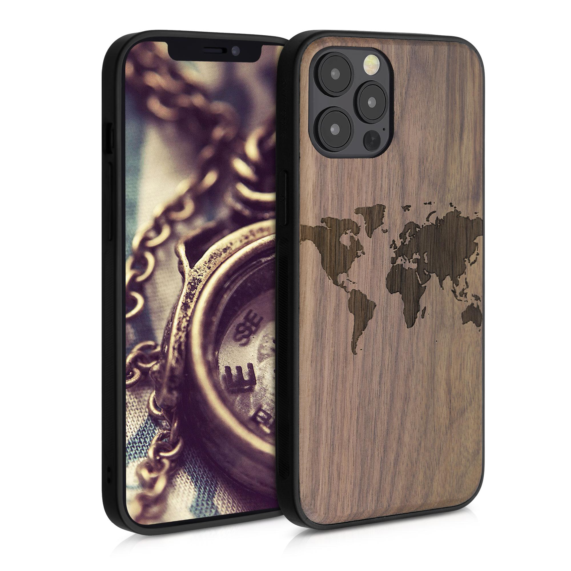 Dřevěné pouzdro pro Apple iPhone 12 Pro Max - Travel Outline Dark Brown