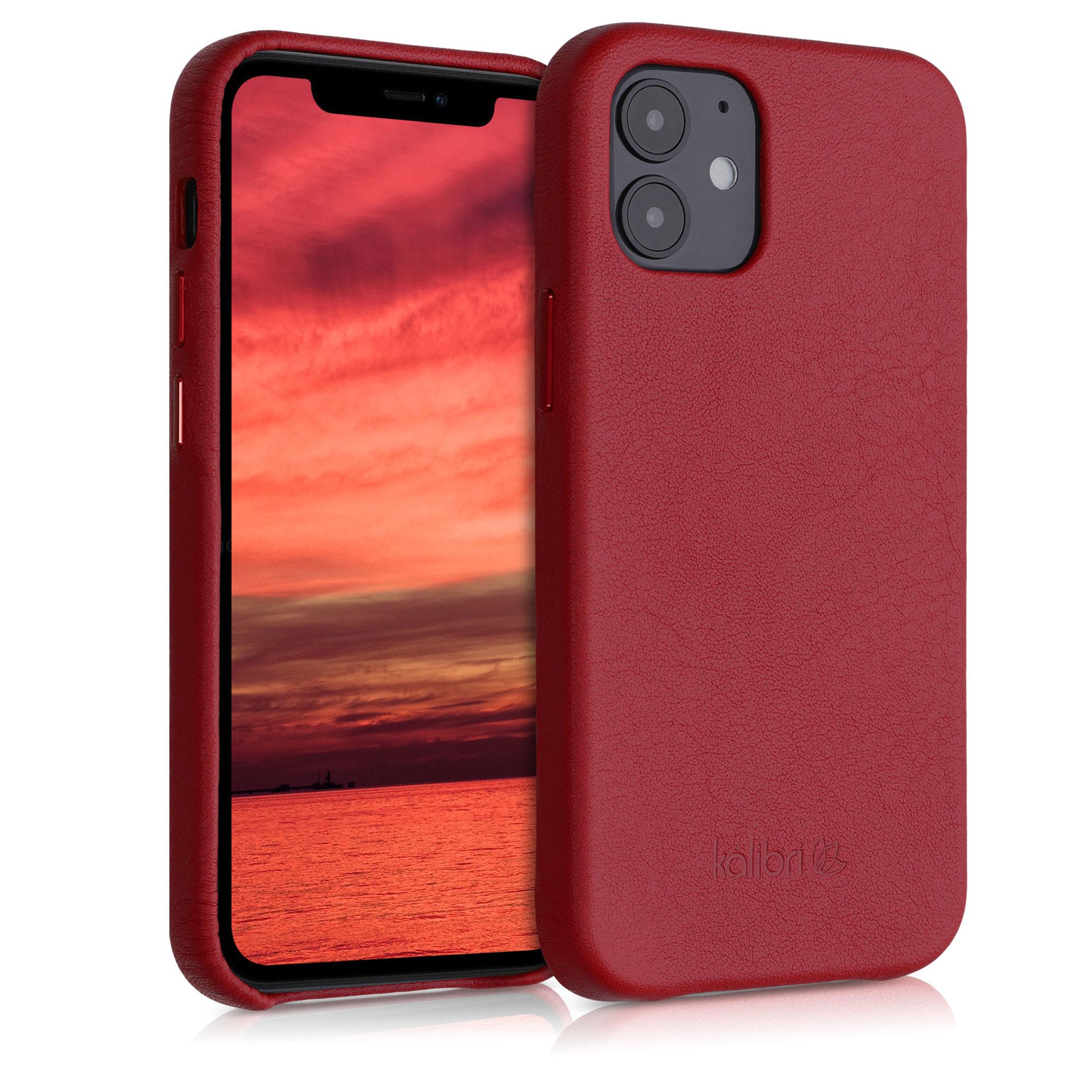 Kožené pouzdro pro Apple iPhone 12 mini - Červené