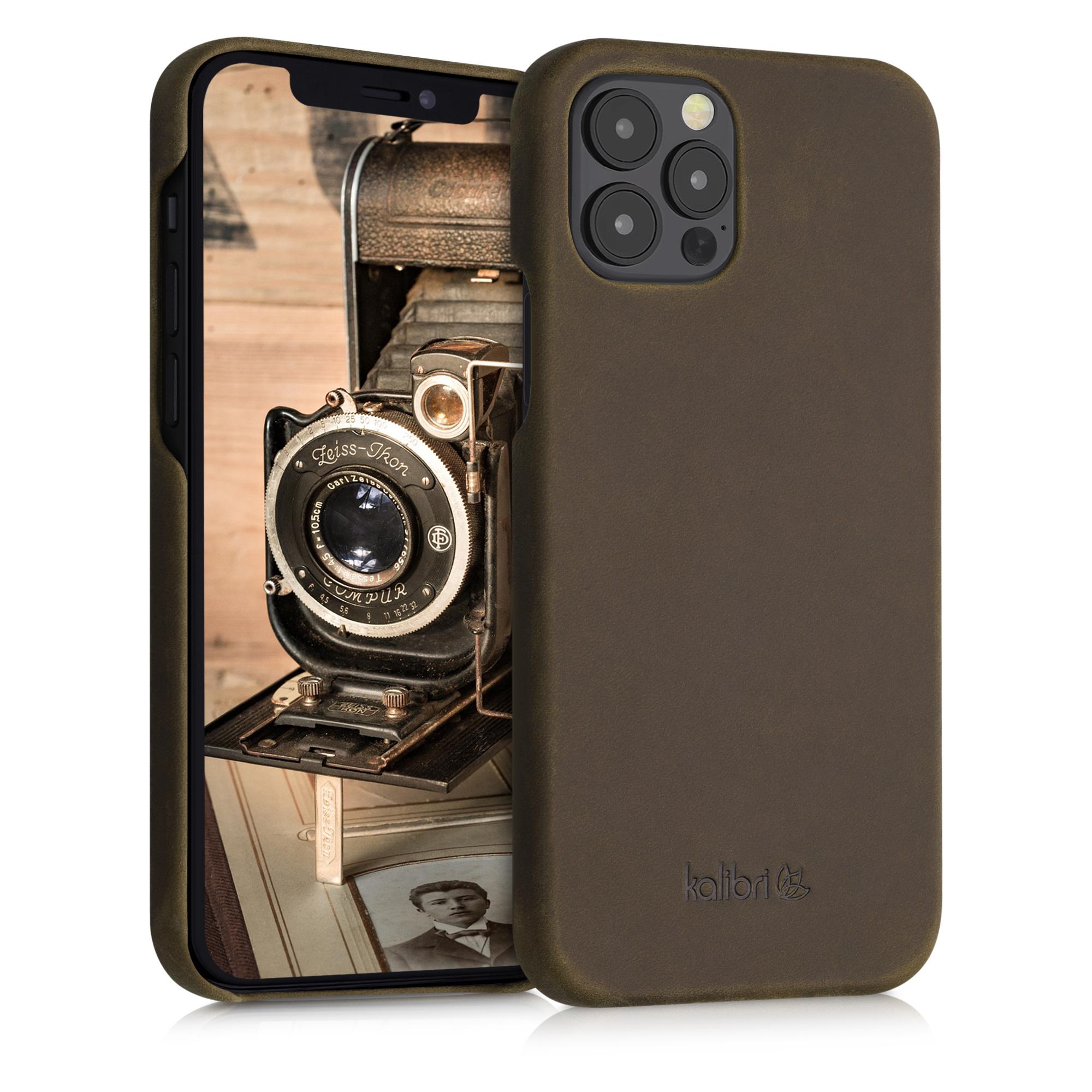 Kožené pouzdro pro Apple iPhone 12 / 12 Pro - Hnědý