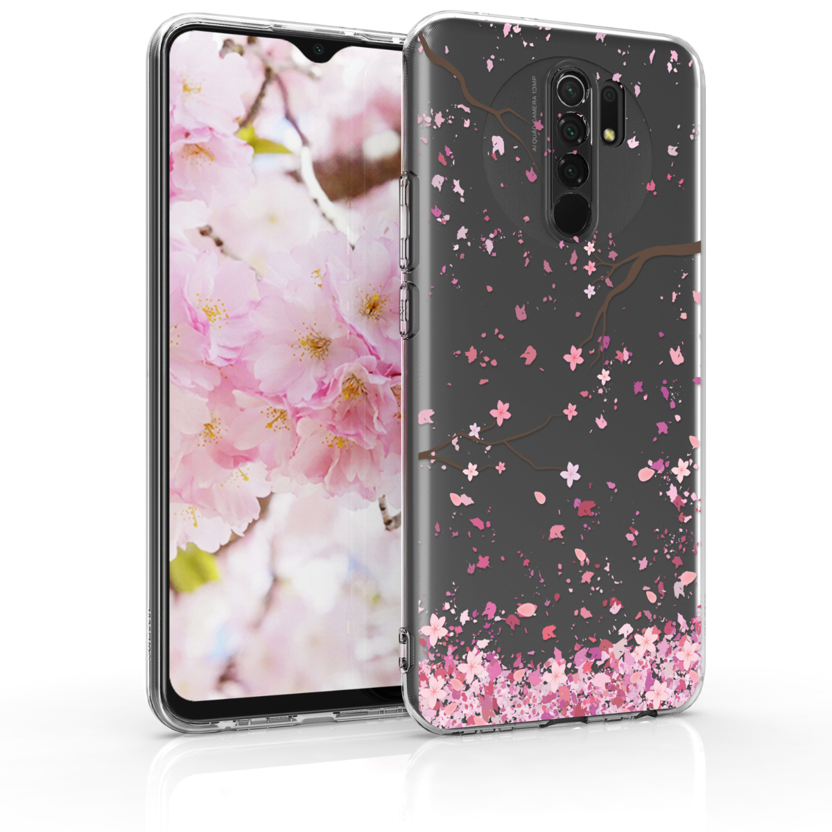 Kvalitní silikonové TPU pouzdro | obal pro Xiaomi Redmi 9 - Cherry Blossoms růžový / tmavě hnědá / transparentní