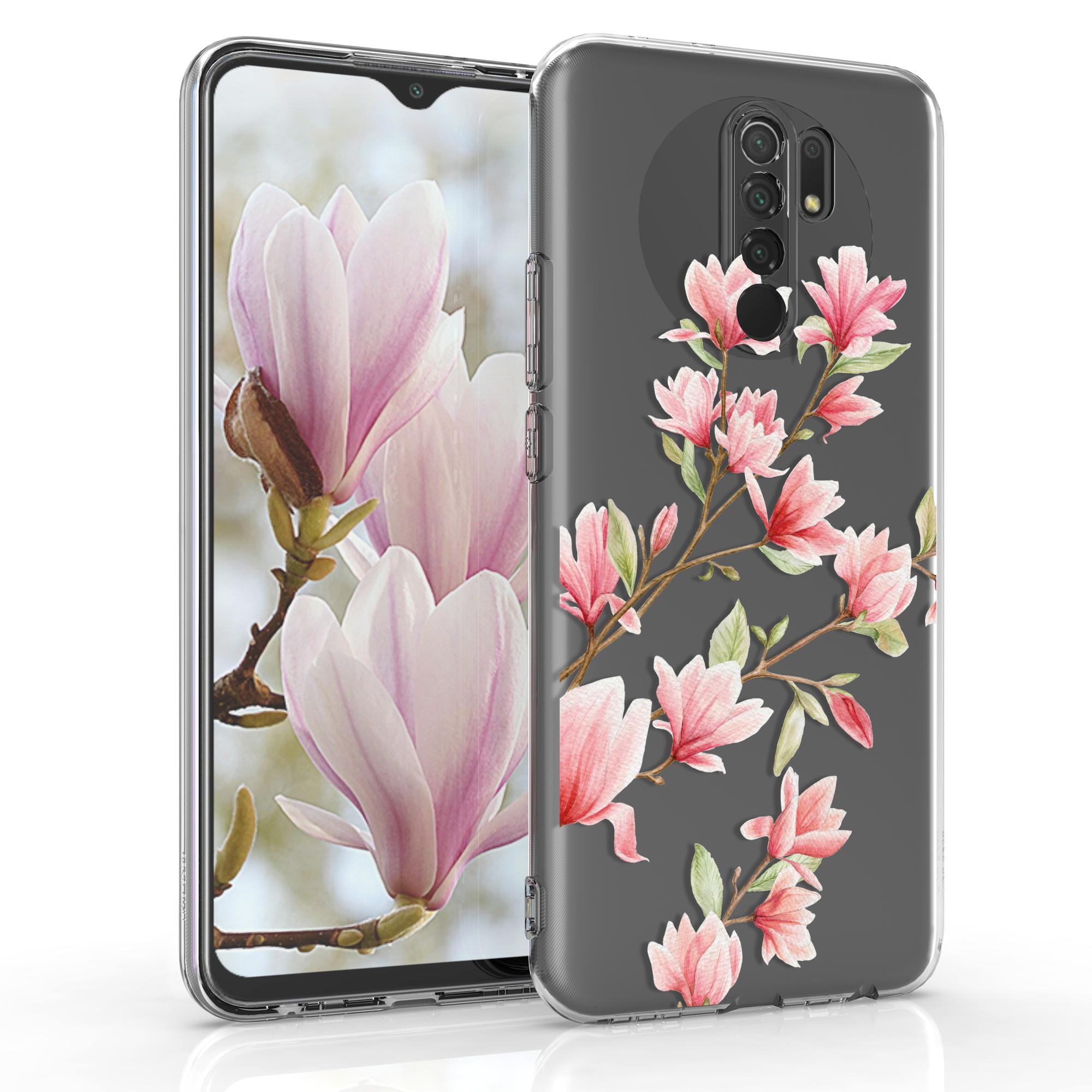 Kvalitní silikonové TPU pouzdro | obal pro Xiaomi Redmi 9 - Magnolie růžový / bílý / transparentní
