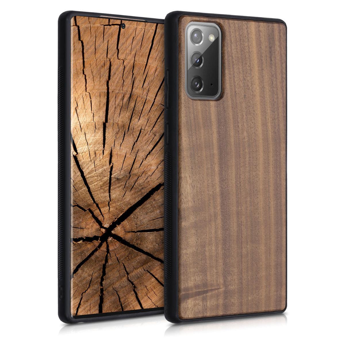Dřevěné pouzdro pro Samsung Note 20 - tmavě hnědá
