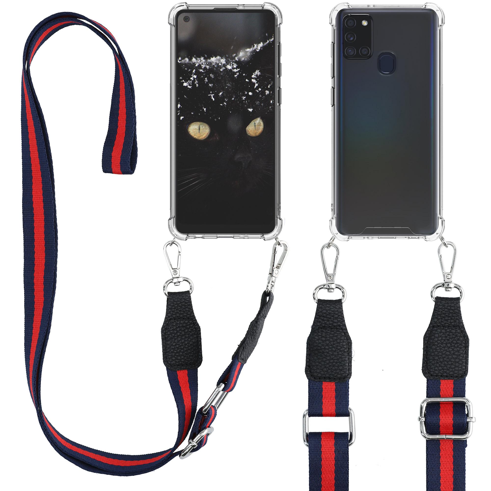 Kvalitní silikonové TPU pouzdro pro Samsung A21s - tmavě modré / červené
