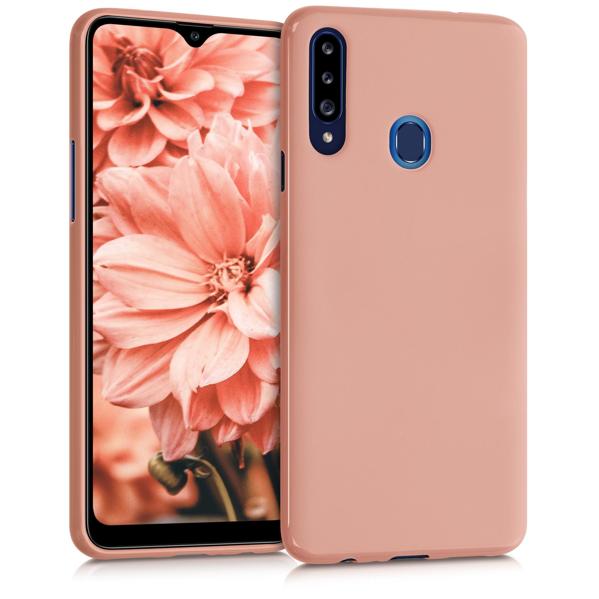 Kvalitní silikonové TPU pouzdro pro Samsung A20s - Rose Tan