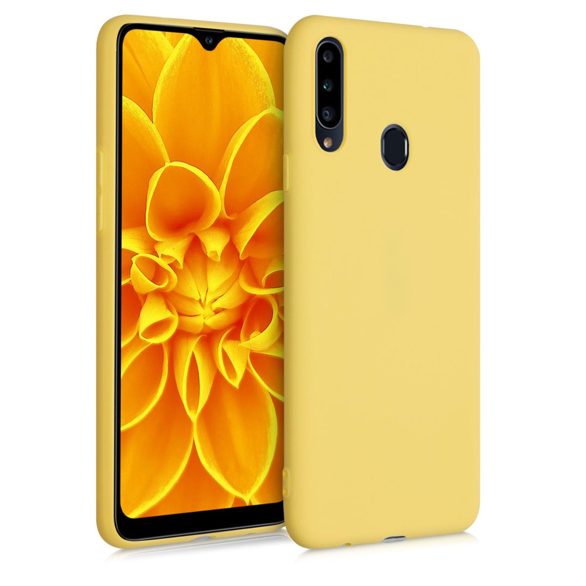 Kvalitní silikonové TPU pouzdro pro Samsung A20s - Yellow Matte