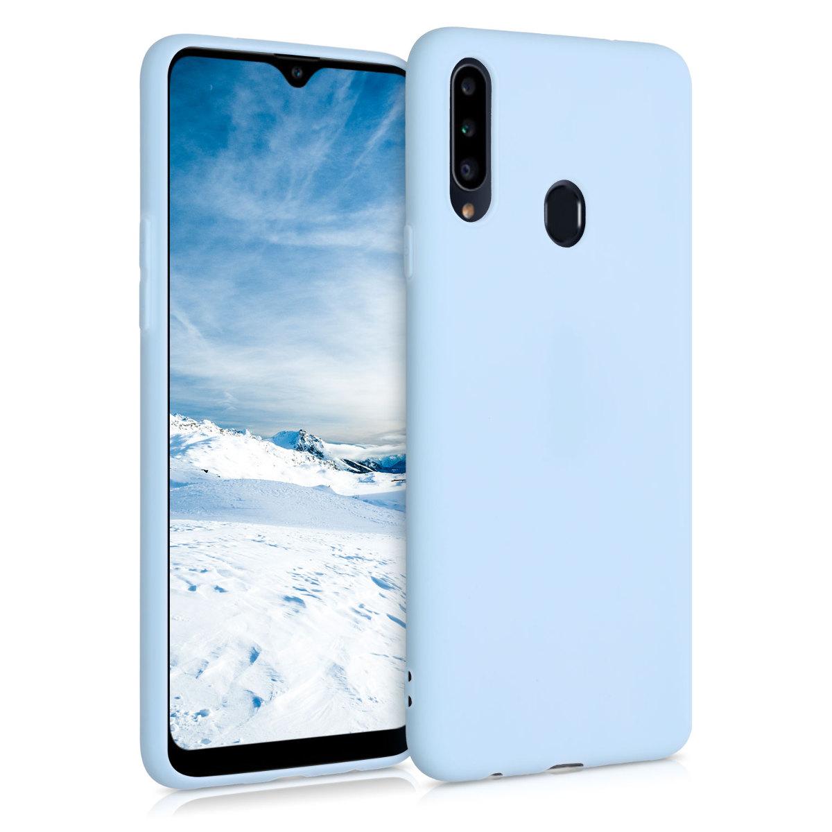 Kvalitní silikonové TPU pouzdro pro Samsung A20s - Light Blue Matte