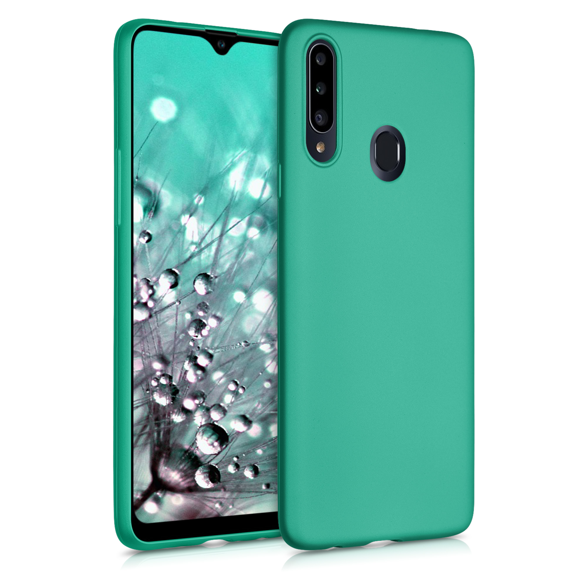 Kvalitní silikonové TPU pouzdro pro Samsung A20s - kovový Turquoise
