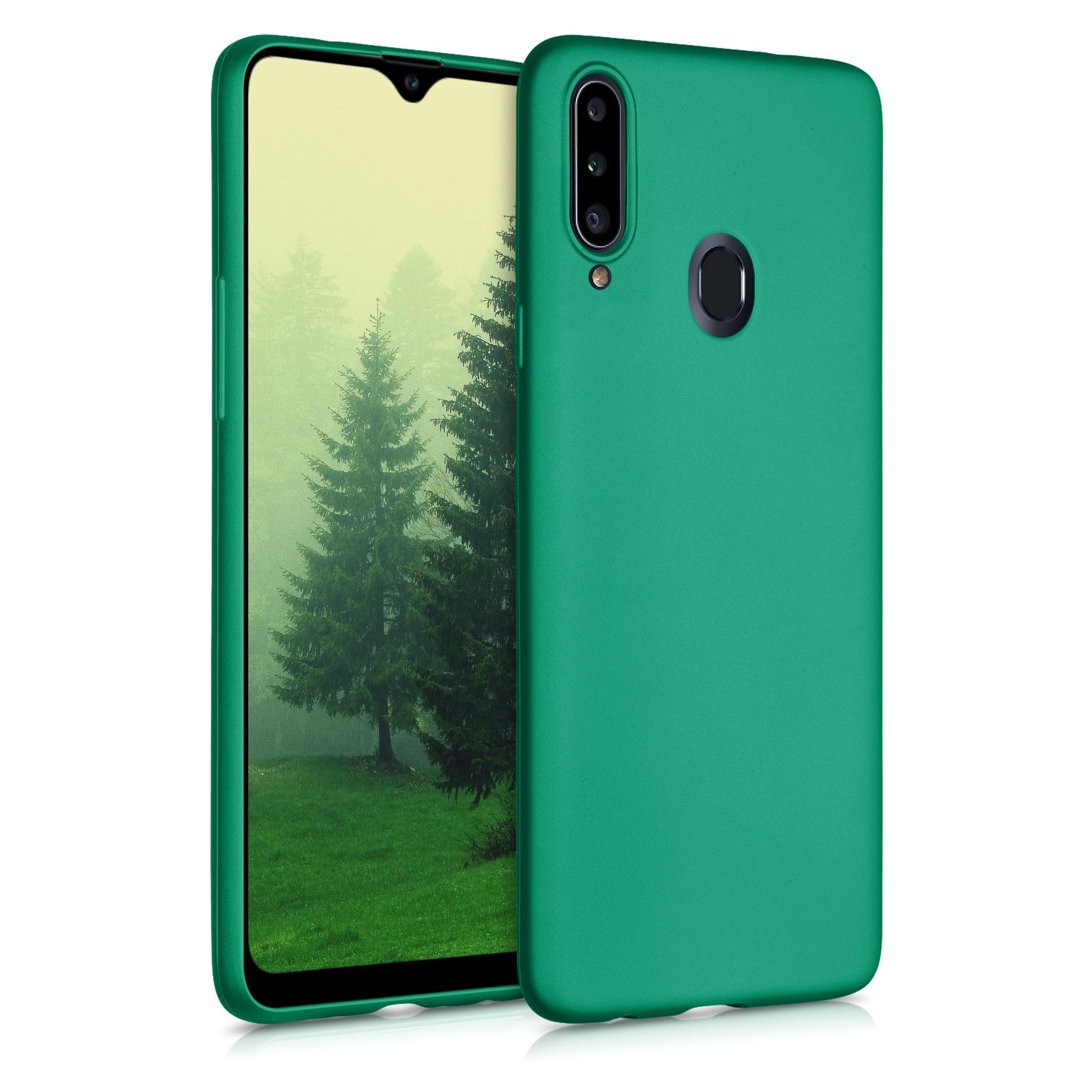 Kvalitní silikonové TPU pouzdro pro Samsung A20s - Tmavé metalické zelené