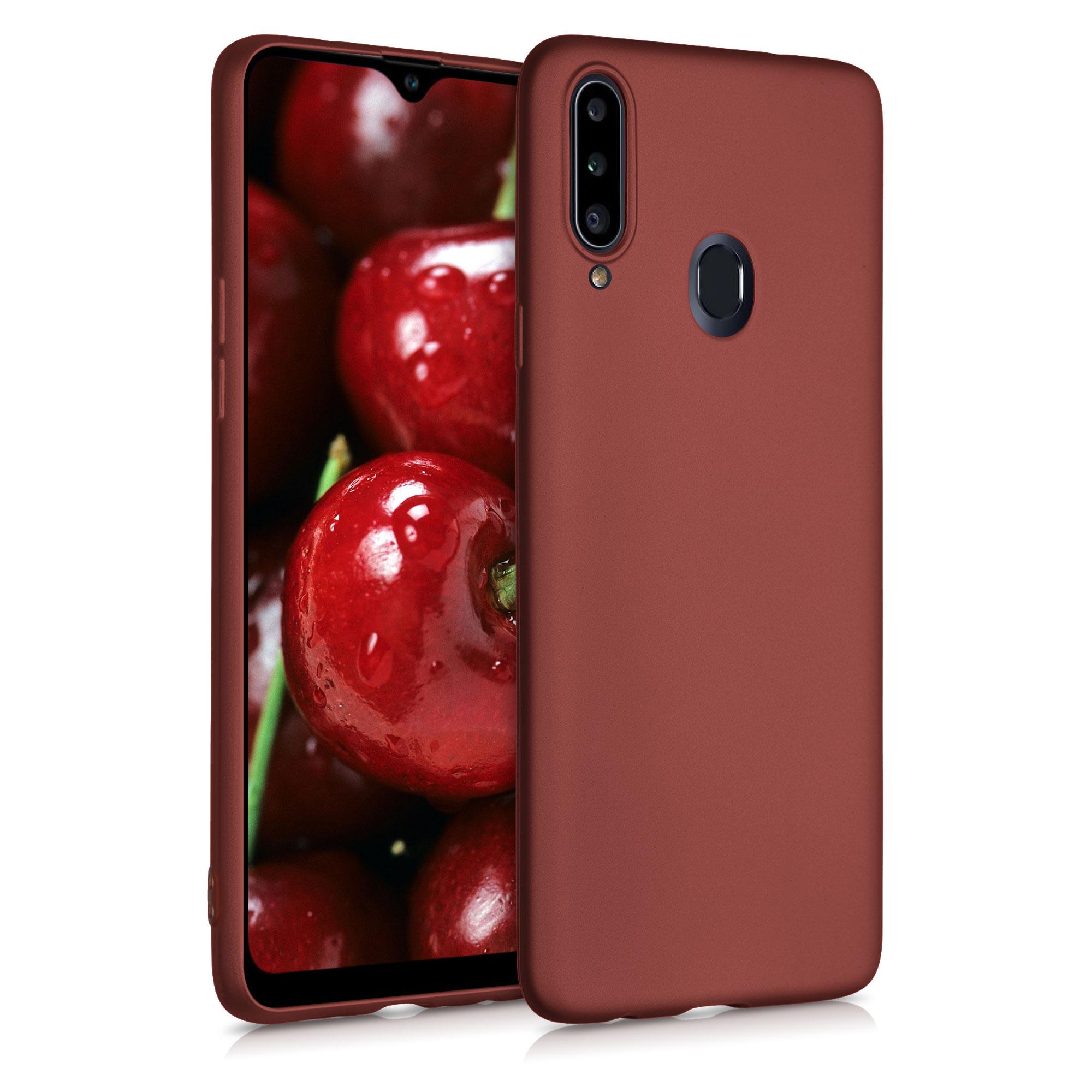 Kvalitní silikonové TPU pouzdro pro Samsung A20s - metalické Ruby červené