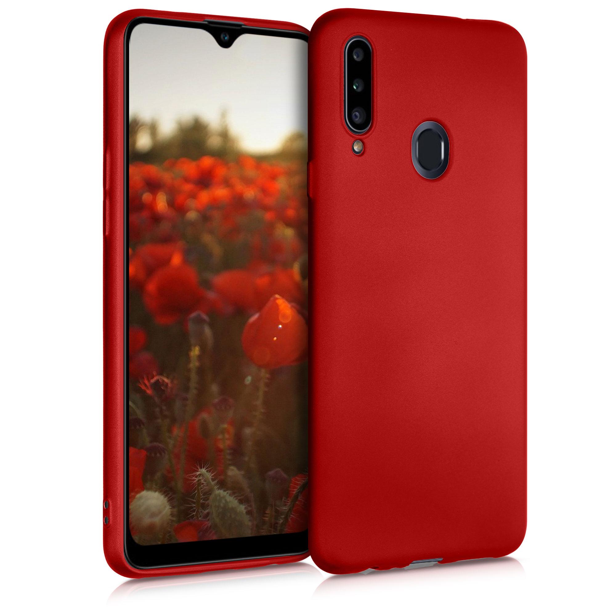 Kvalitní silikonové TPU pouzdro pro Samsung A20s - metalické tmavě červená