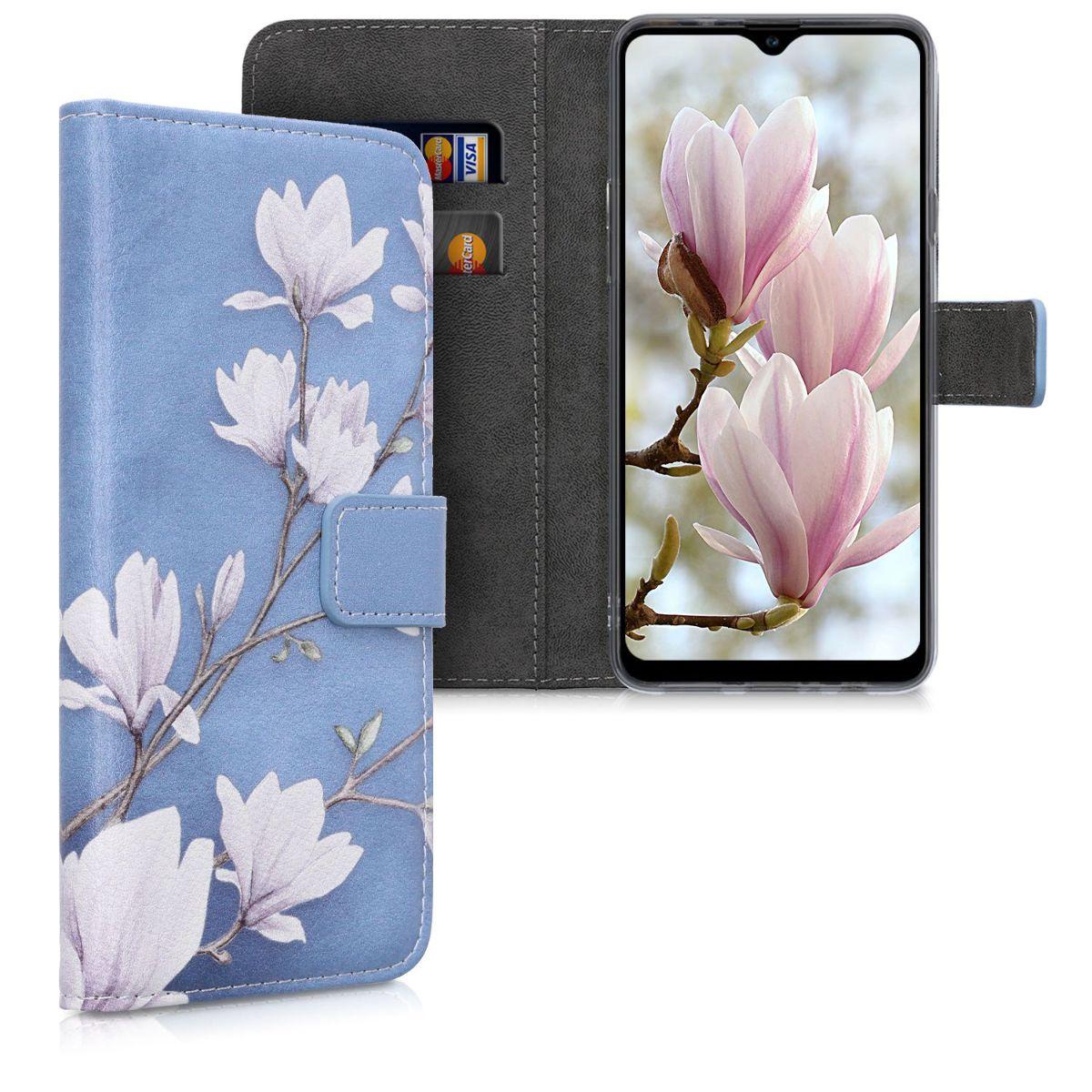 Kožené pouzdro pro Samsung A20s - Magnolie Taupe / bílá / modré šedé
