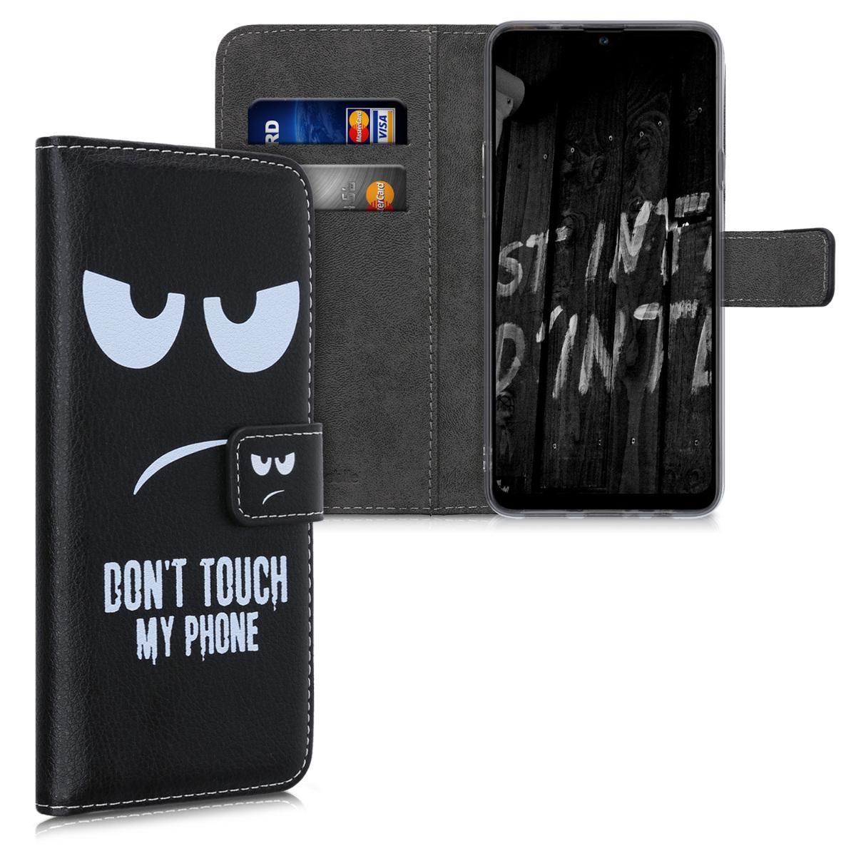 Kožené pouzdro pro Samsung A20s - Nedotýkejte My Phone bílé / černé
