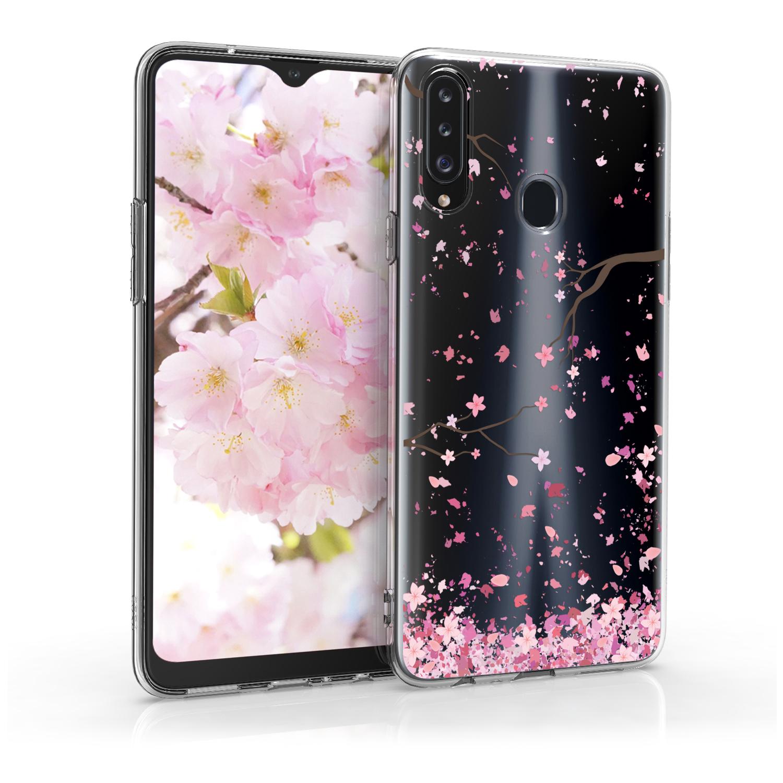 Kvalitní silikonové TPU pouzdro pro Samsung A20s - Cherry Blossoms růžové / tmavě hnědá / transparentní