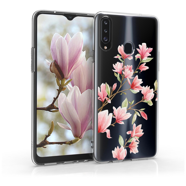 Kvalitní silikonové TPU pouzdro pro Samsung A20s - Magnolie růžové / bílé / transparentní
