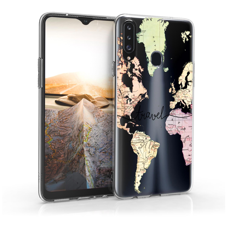 Kvalitní silikonové TPU pouzdro pro Samsung A20s - Travel černé / Multicolor / transparentní