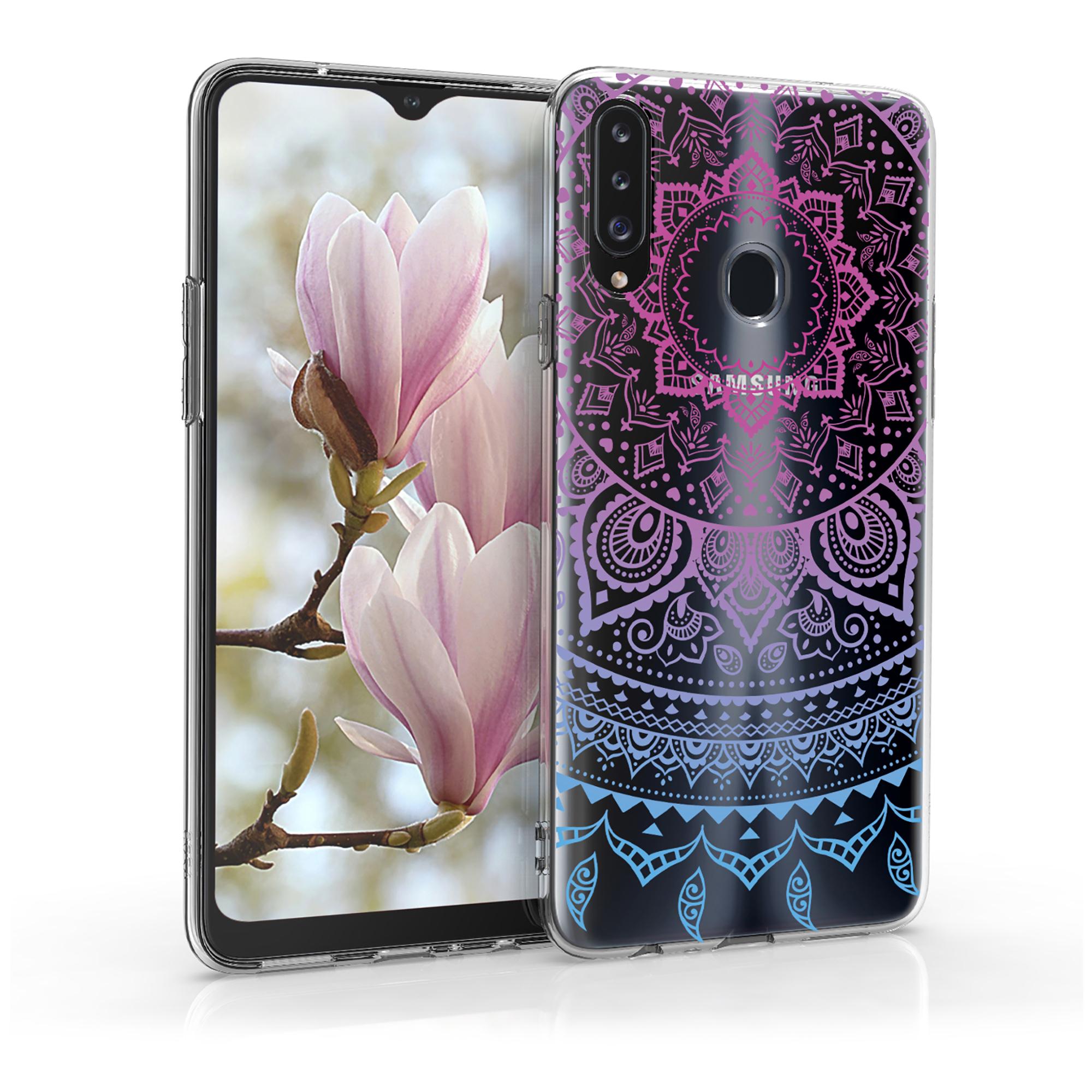 Kvalitní silikonové TPU pouzdro pro Samsung A20s - Indické Sun Modrá / tmavě růžová / Transparent