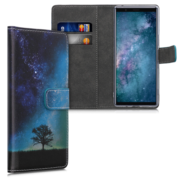 Kožené pouzdro | obal pro Sony Xperia 5 - vesmírné příroda modré / šedé/ černé