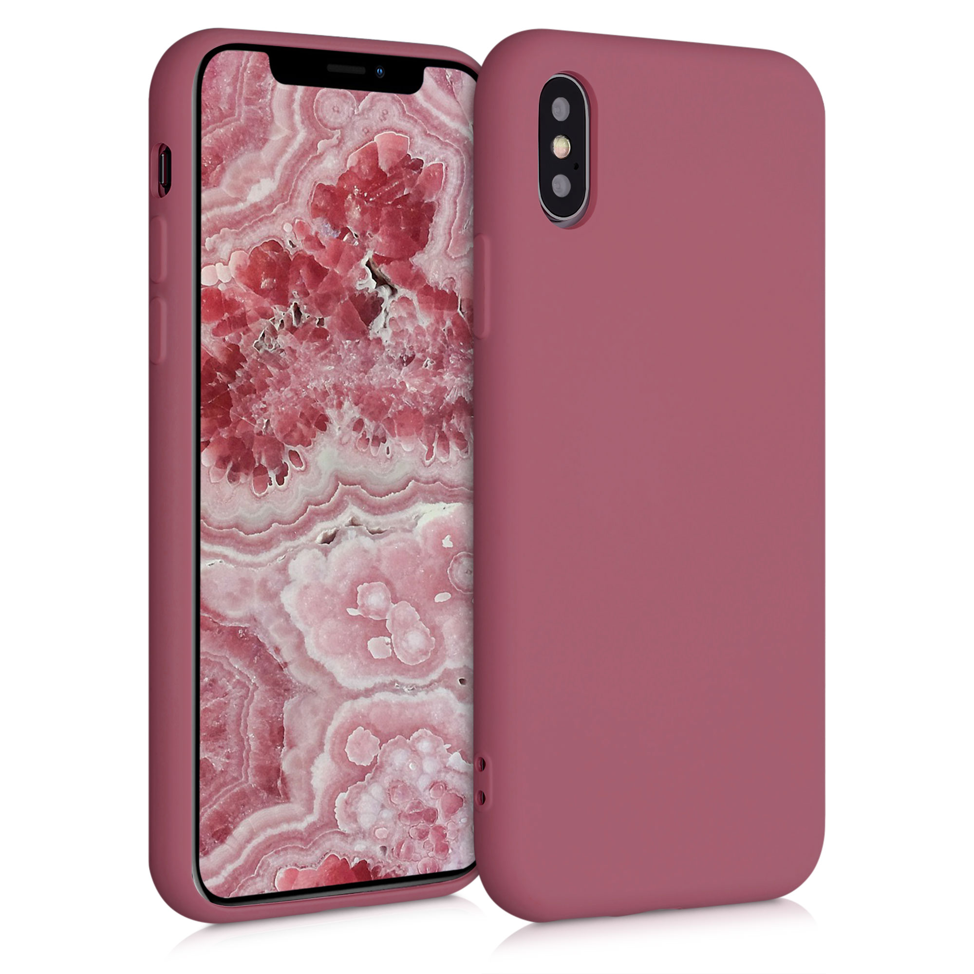 Kvalitní silikonové TPU pouzdro pro Apple iPhone XS - Hluboké Rusty Rose
