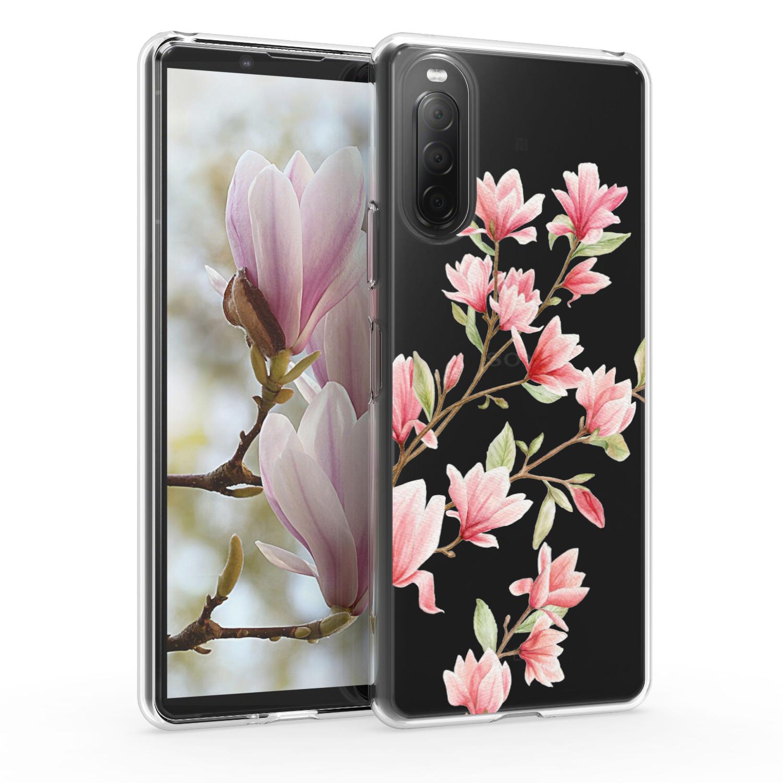 Kvalitní silikonové TPU pouzdro | obal pro Sony Xperia 10 II - Magnolie růžové / bílé / průhledné