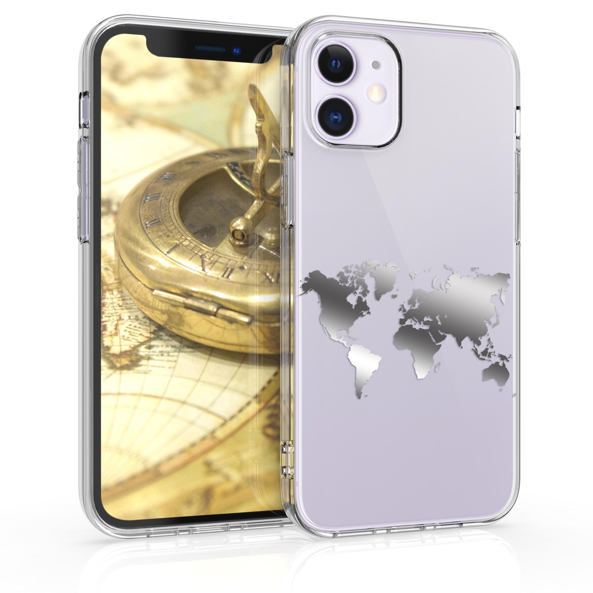 Kvalitní silikonové TPU pouzdro pro Apple iPhone 12 mini - Travel Outline Silver | Transparent
