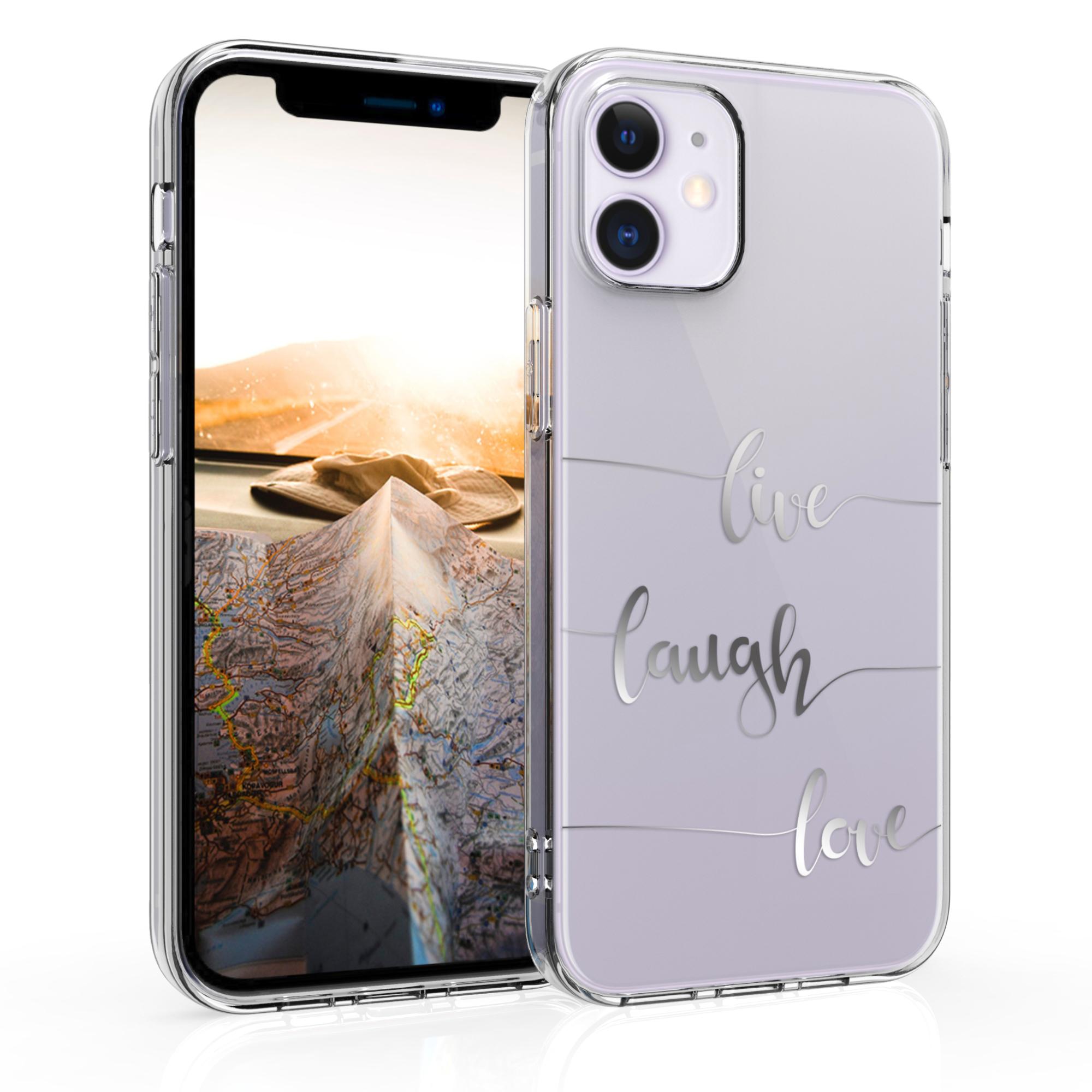 Kvalitní silikonové TPU pouzdro pro Apple iPhone 12 mini - Žít, smích, láska Silver | Transparent